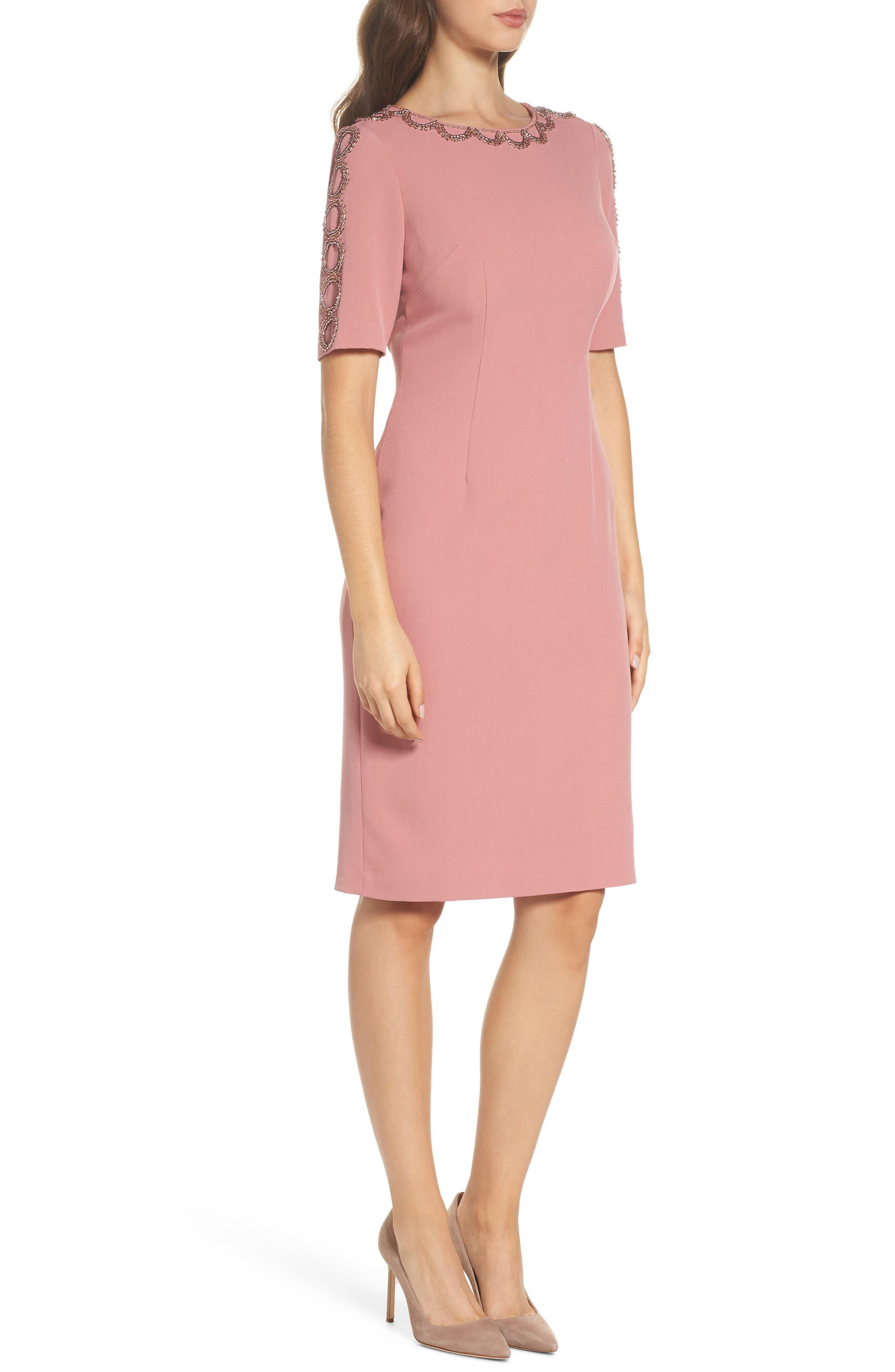 Embellished Sheath Dress,                             Alternate thumbnail 3, color,