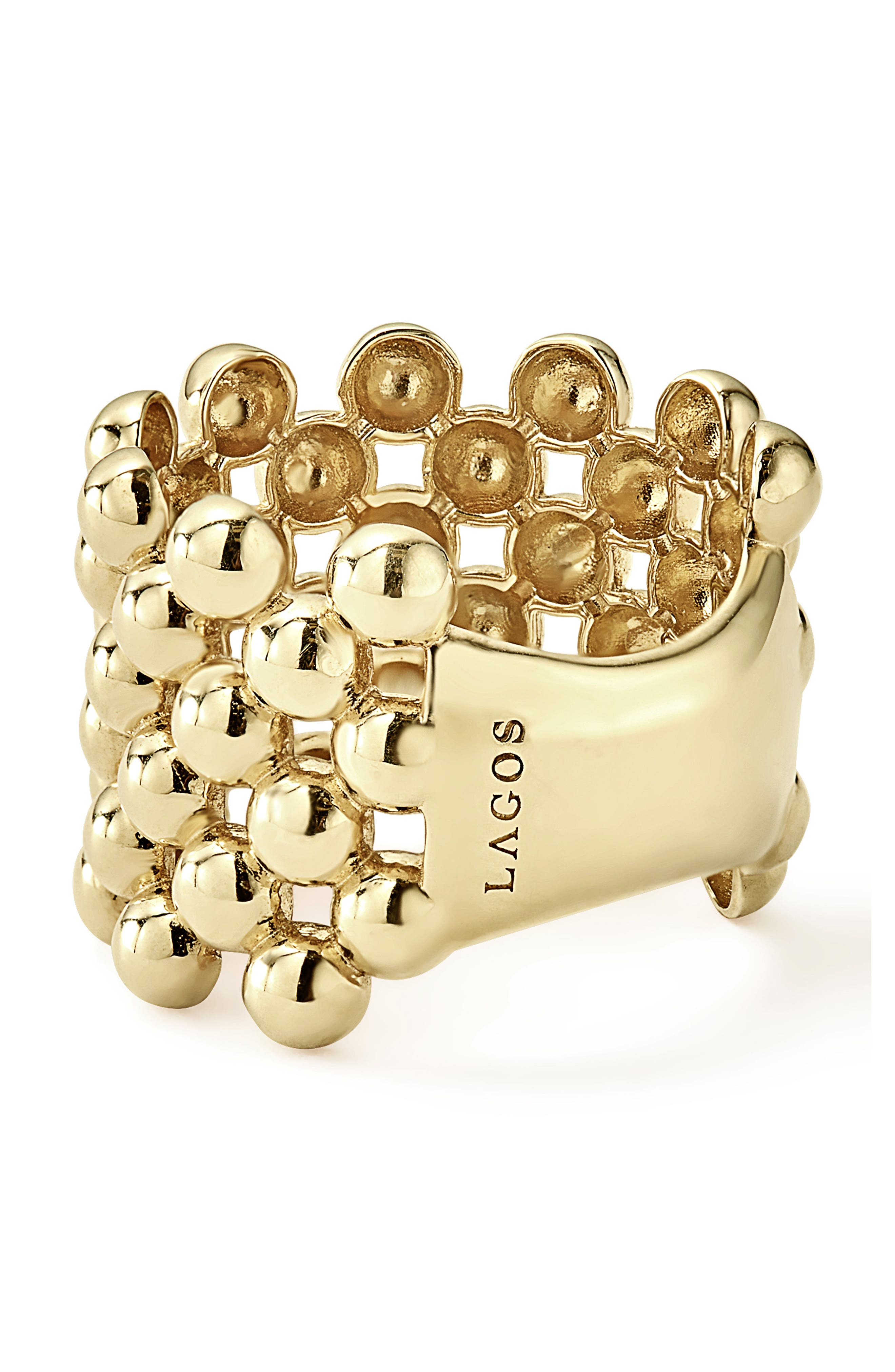 Caviar Gold Wide Band Ring,                             Alternate thumbnail 3, color,                             GOLD