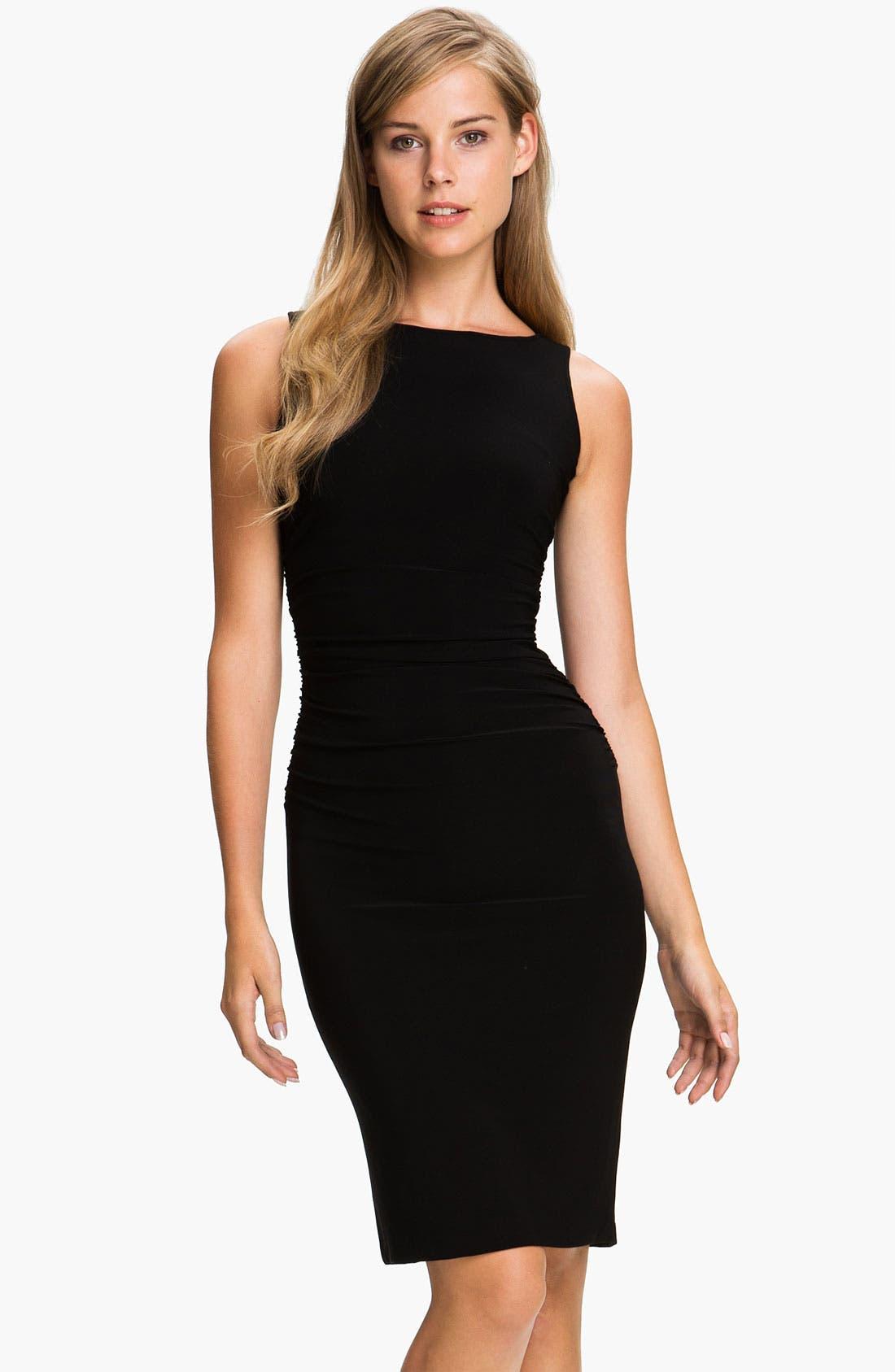 Shirred Sleeveless Dress,                             Main thumbnail 1, color,                             001