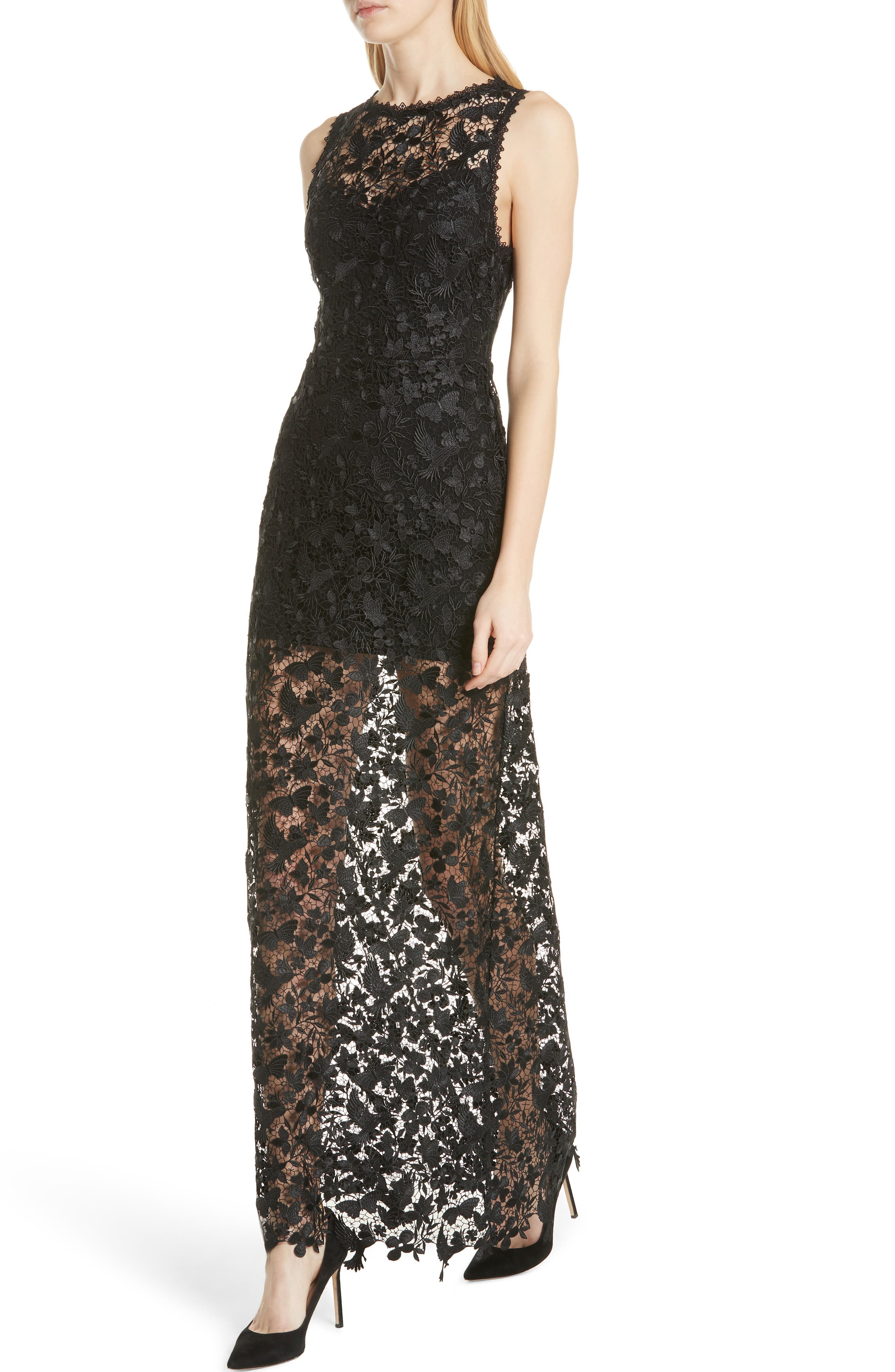 ALICE + OLIVIA,                             Danielle Silk Lace Overlay Sheer Maxi Dress,                             Alternate thumbnail 4, color,                             001