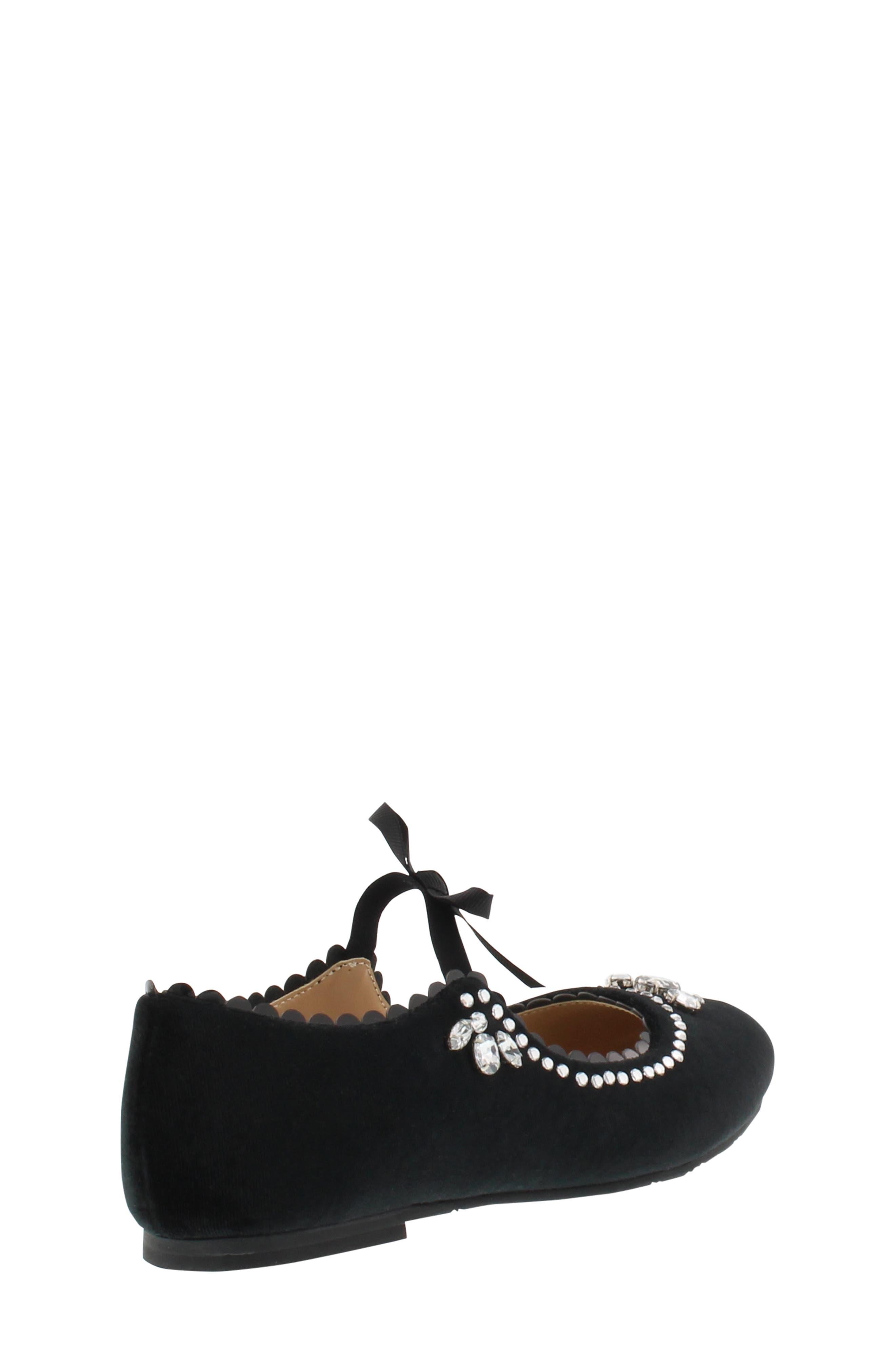 Badgley Mischka Amber Scallop Embellished Flat,                             Alternate thumbnail 2, color,                             BLACK