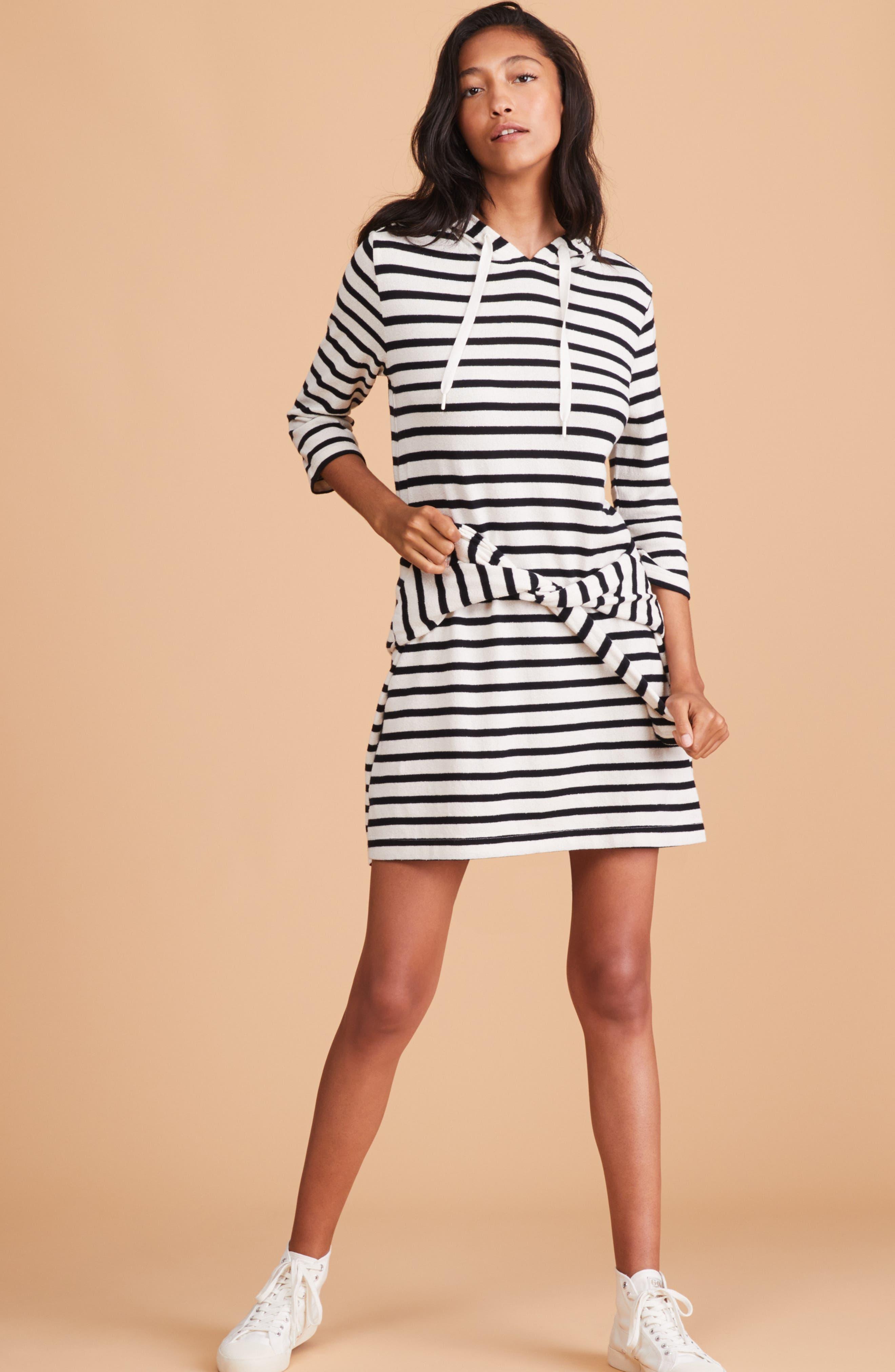 Striped Hoodie Dress,                             Alternate thumbnail 2, color,                             BLACK/ WHITE