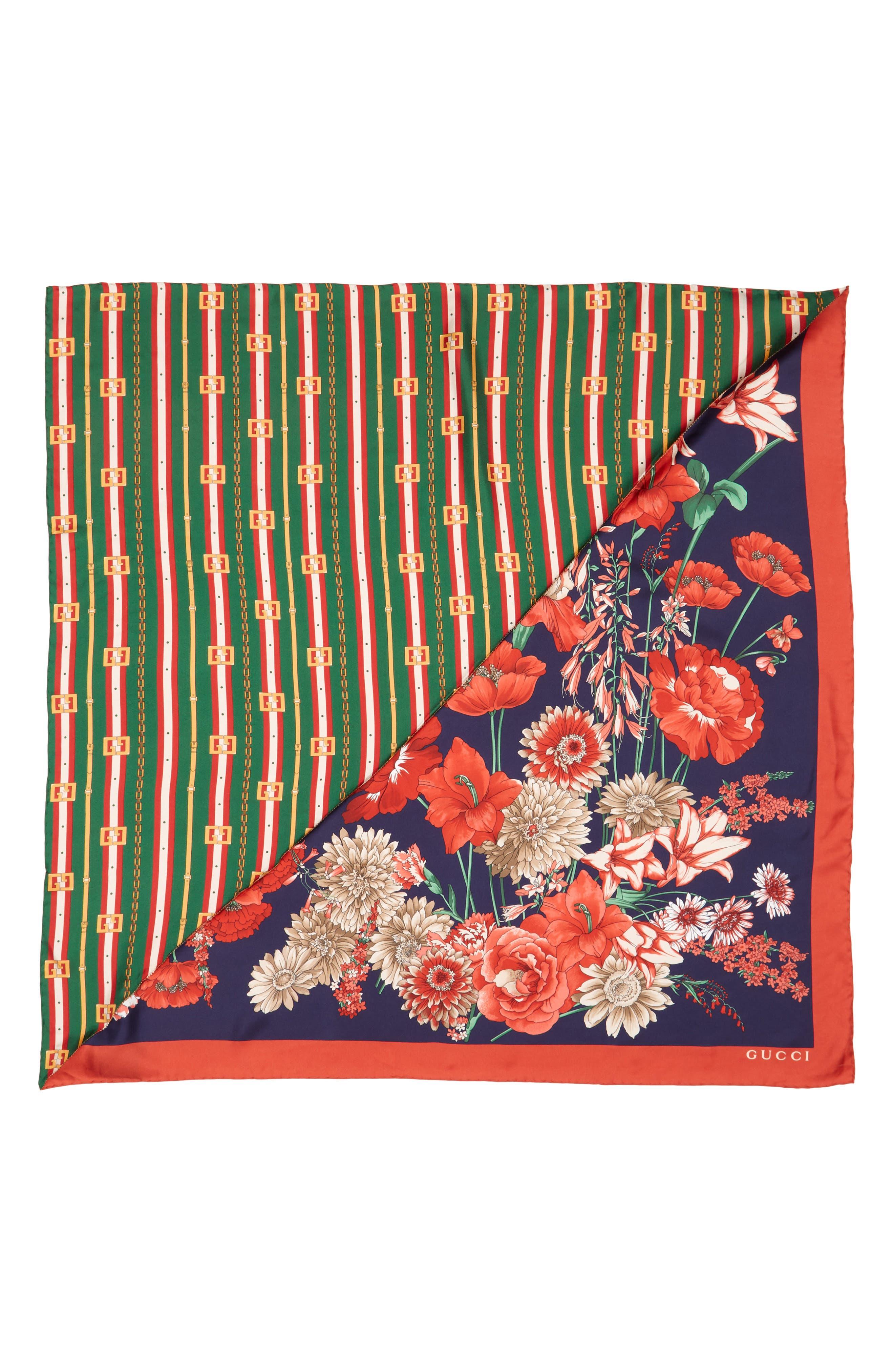 Bouquet Chain Silk Twill Scarf,                             Main thumbnail 1, color,                             NAVY/ DARK GREEN