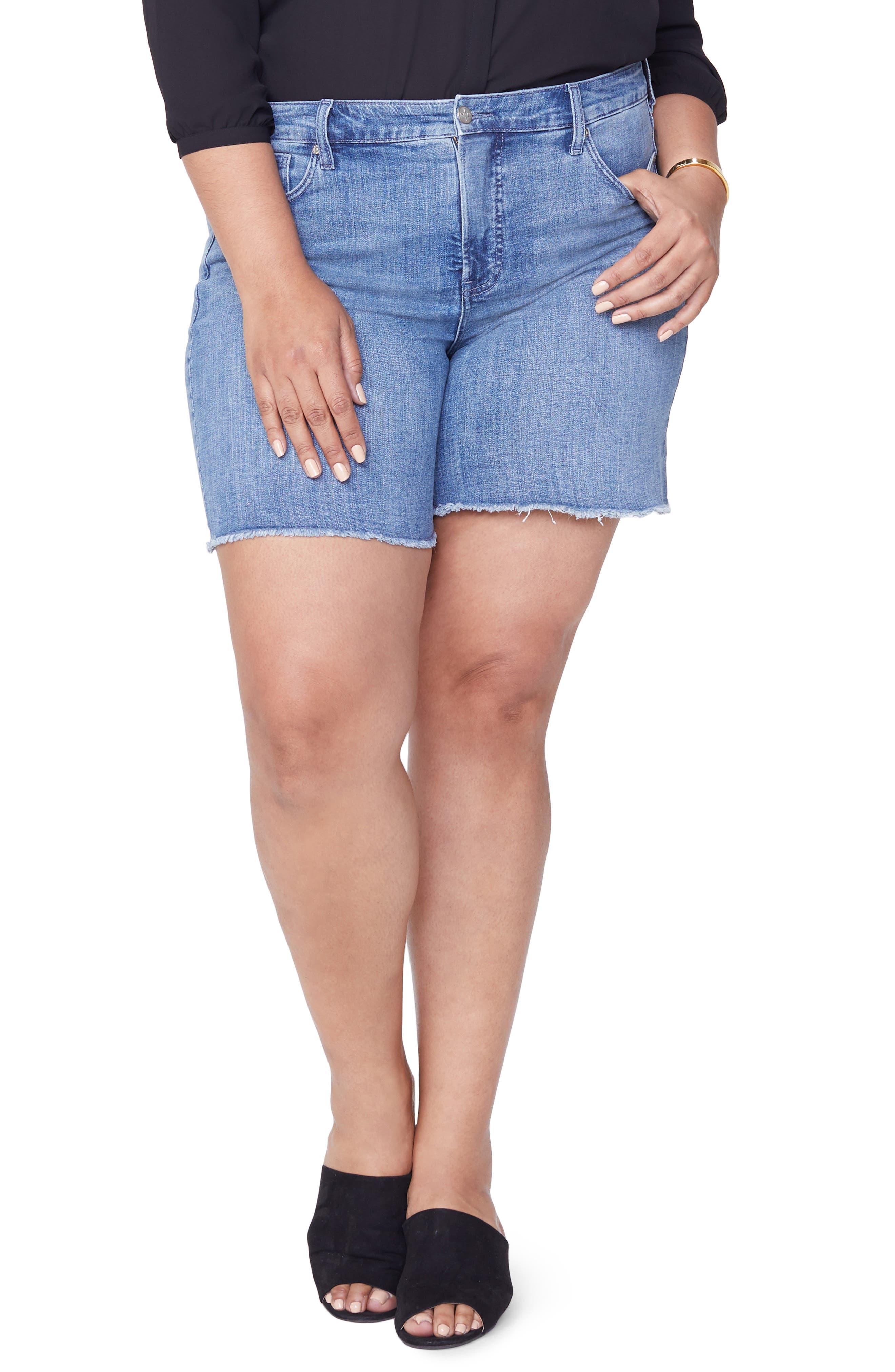 Jenna Frayed Denim Shorts,                         Main,                         color, MAXWELL