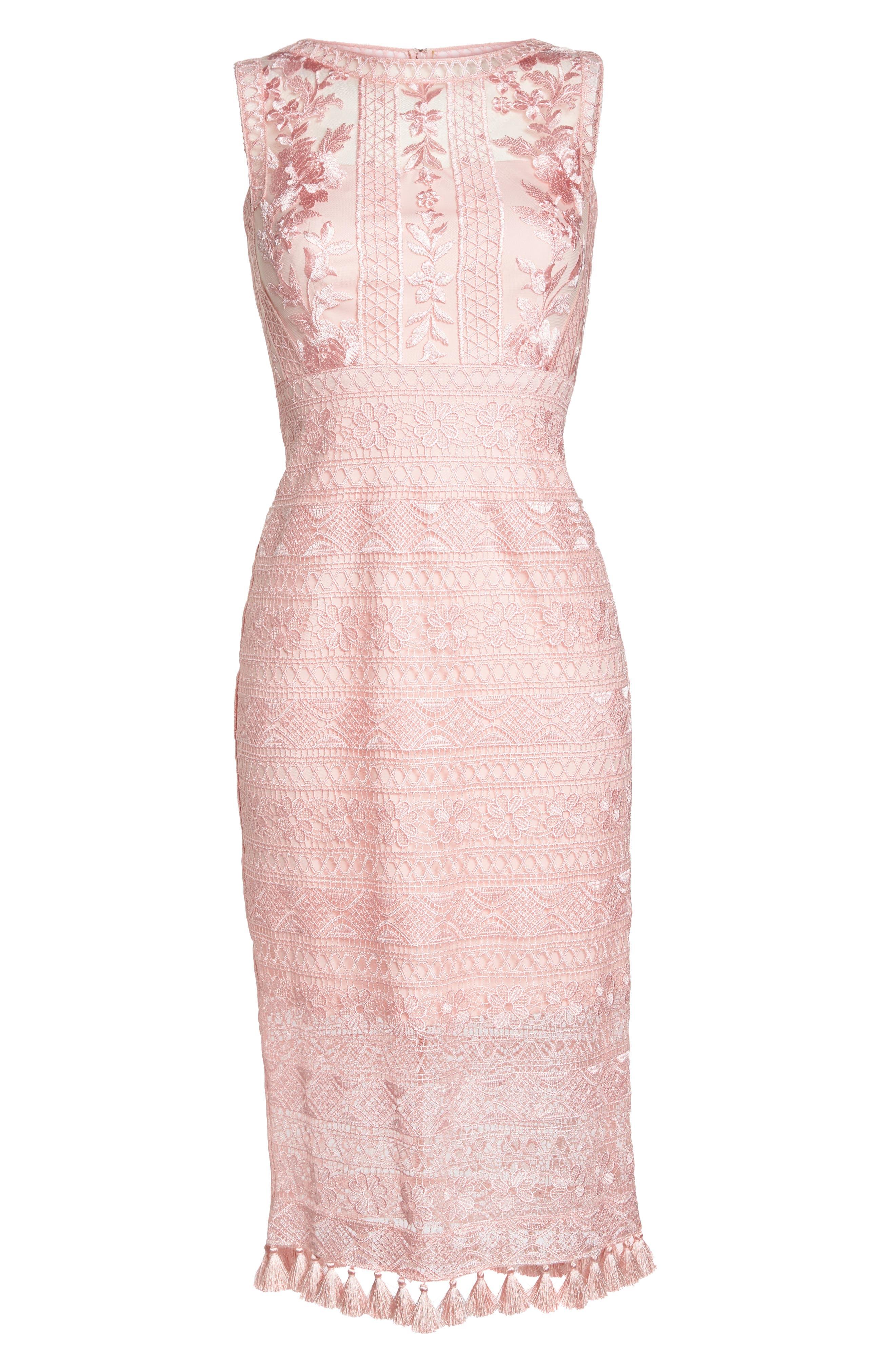 Embroidered Lace Sheath Dress,                             Alternate thumbnail 6, color,                             ROSE QUARTZ