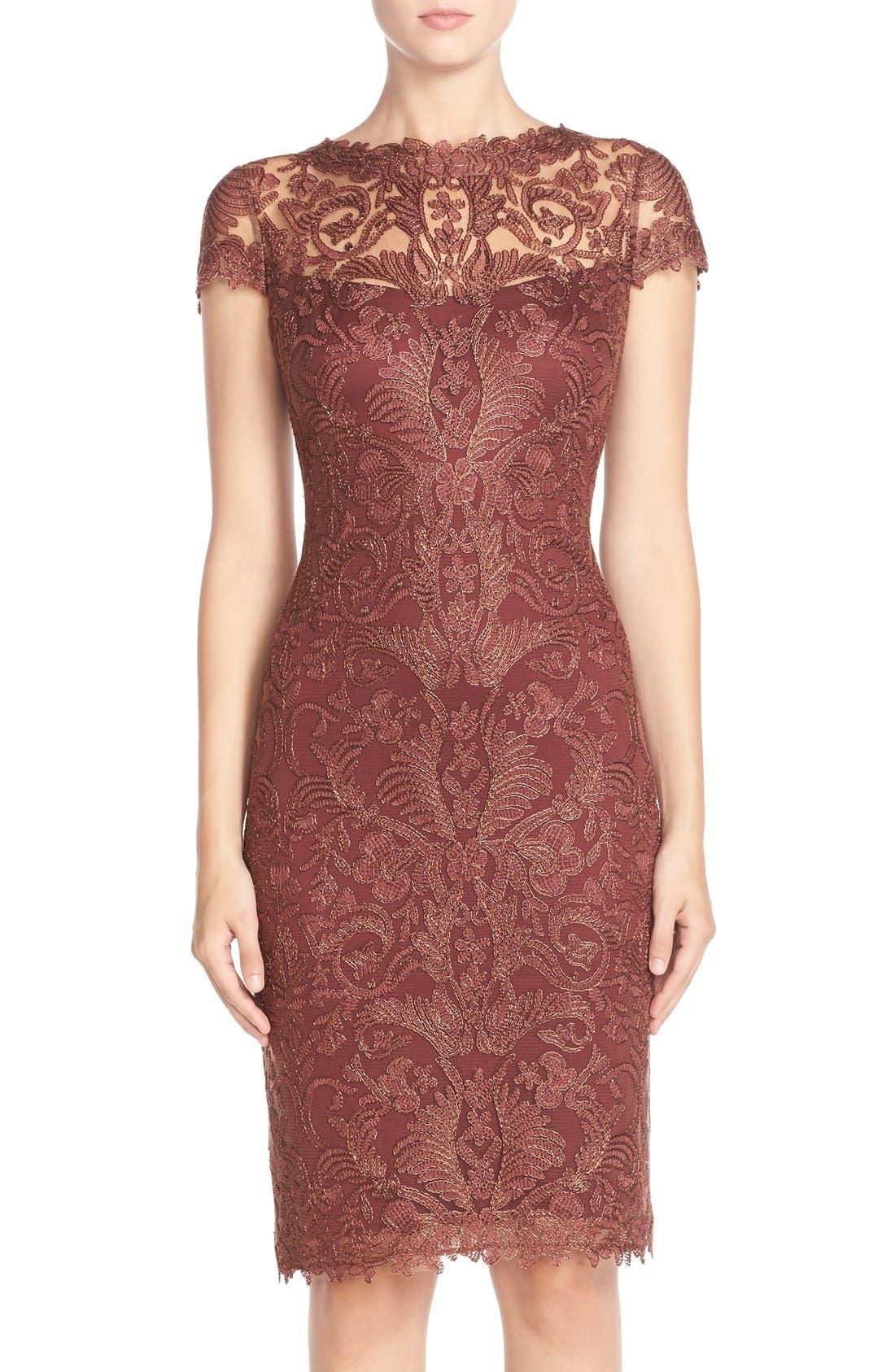Illusion Yoke Lace Sheath Dress,                             Main thumbnail 8, color,