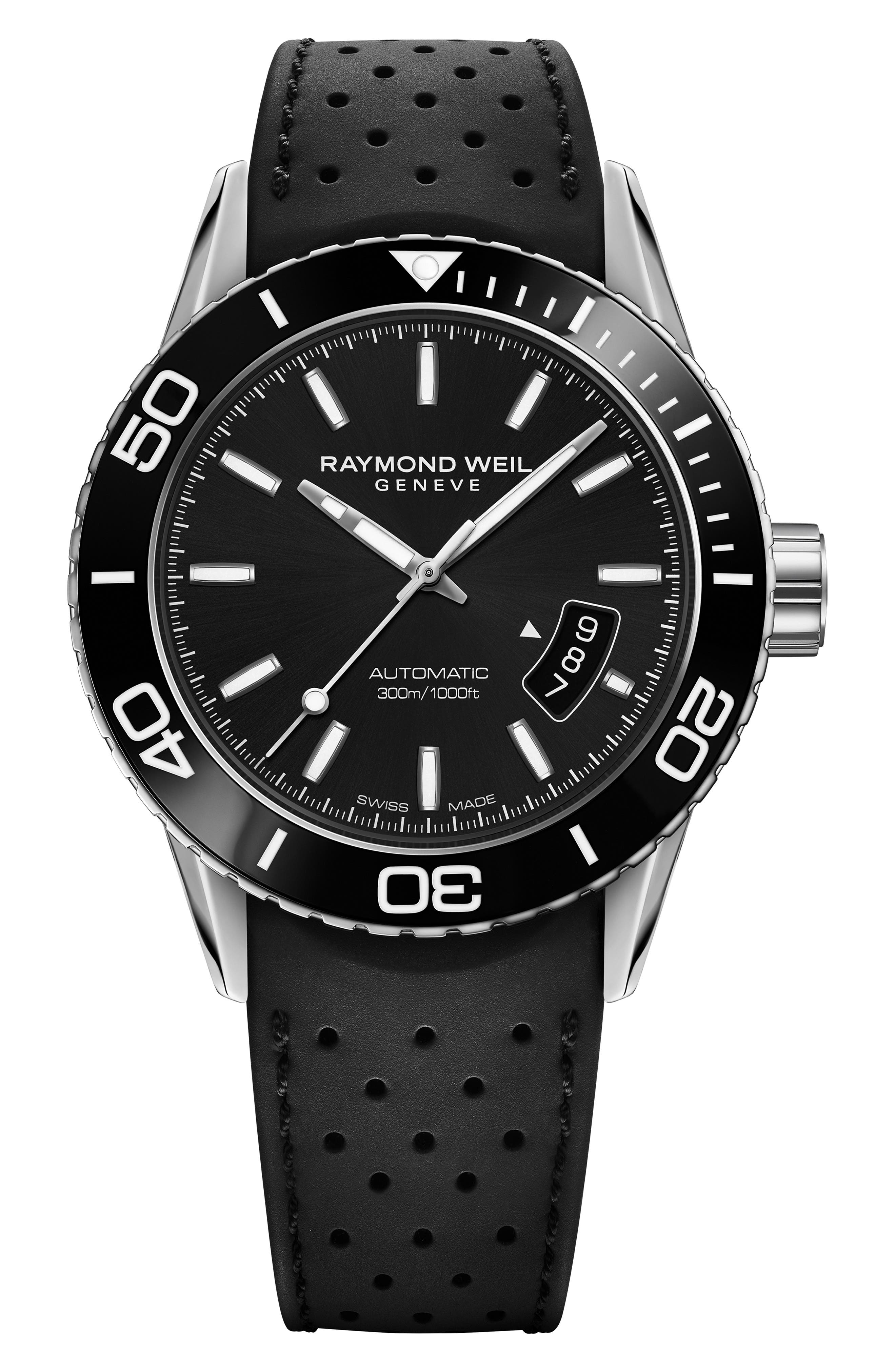 Freelancer Diver Automatic Rubber Strap Watch, 43mm,                             Main thumbnail 1, color,                             001
