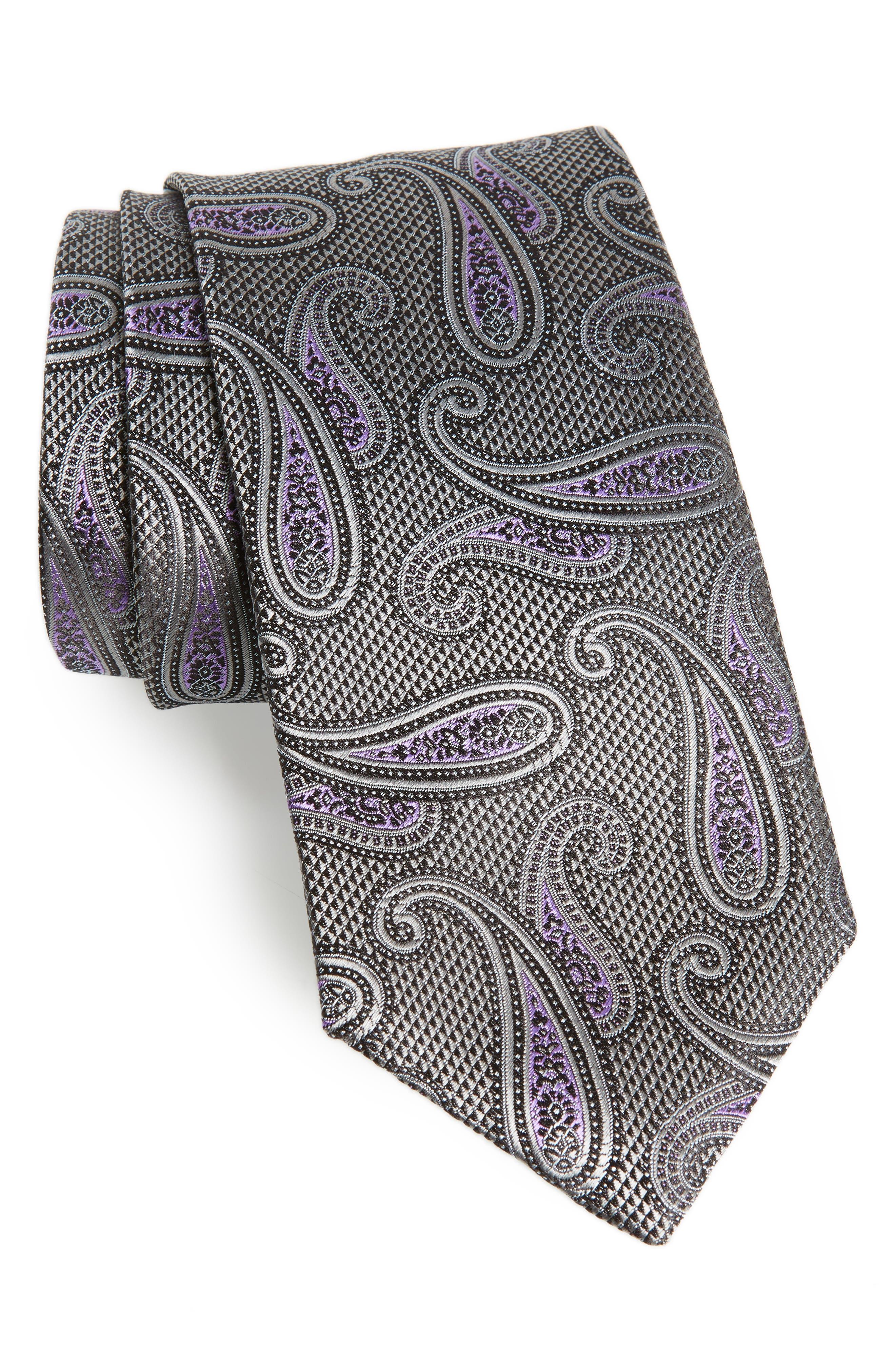 Paisley Silk Tie,                             Main thumbnail 1, color,                             SILVER