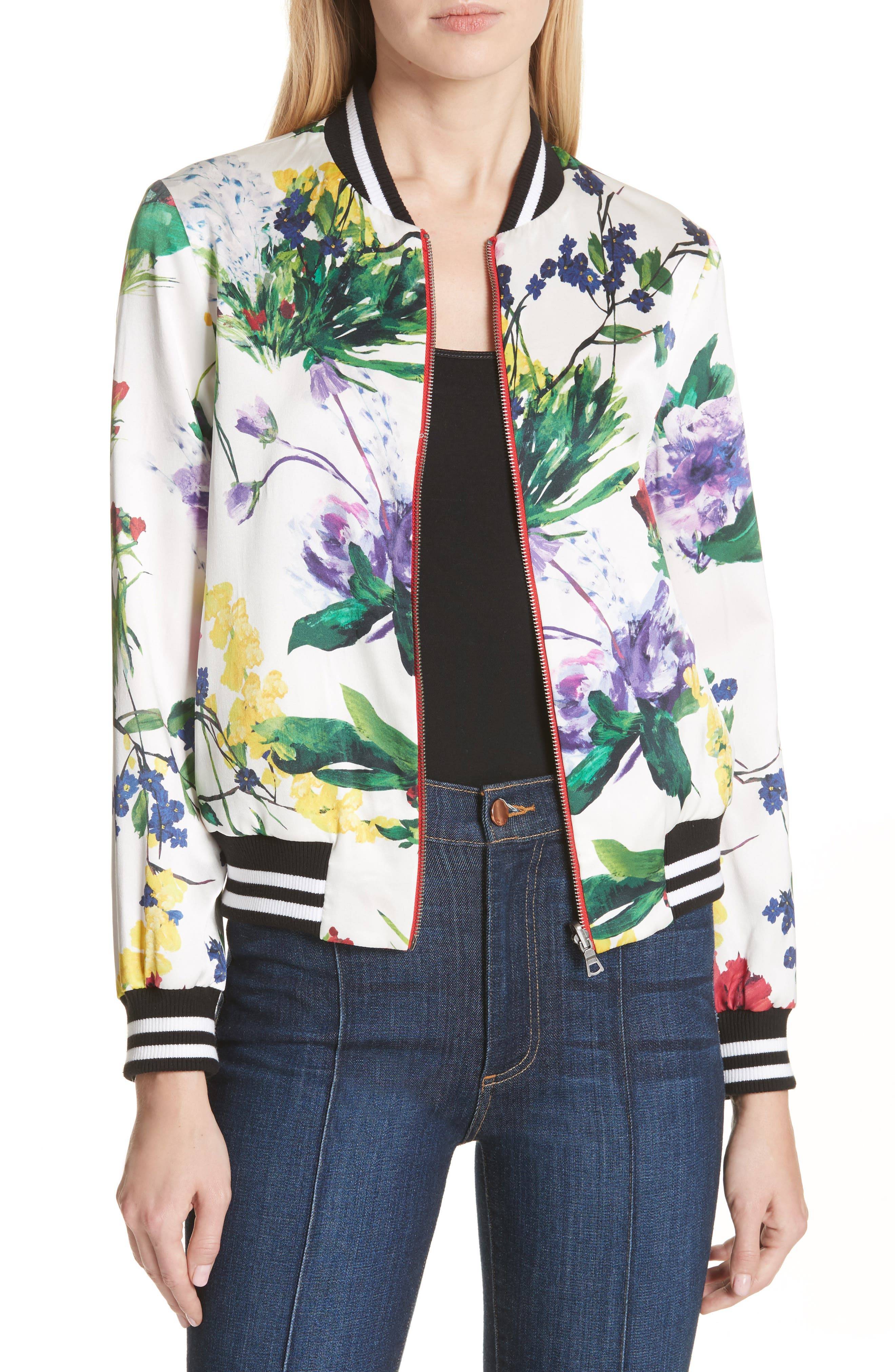 ALICE + OLIVIA,                             Lonnie Reversible Silk Bomber Jacket,                             Main thumbnail 1, color,                             605