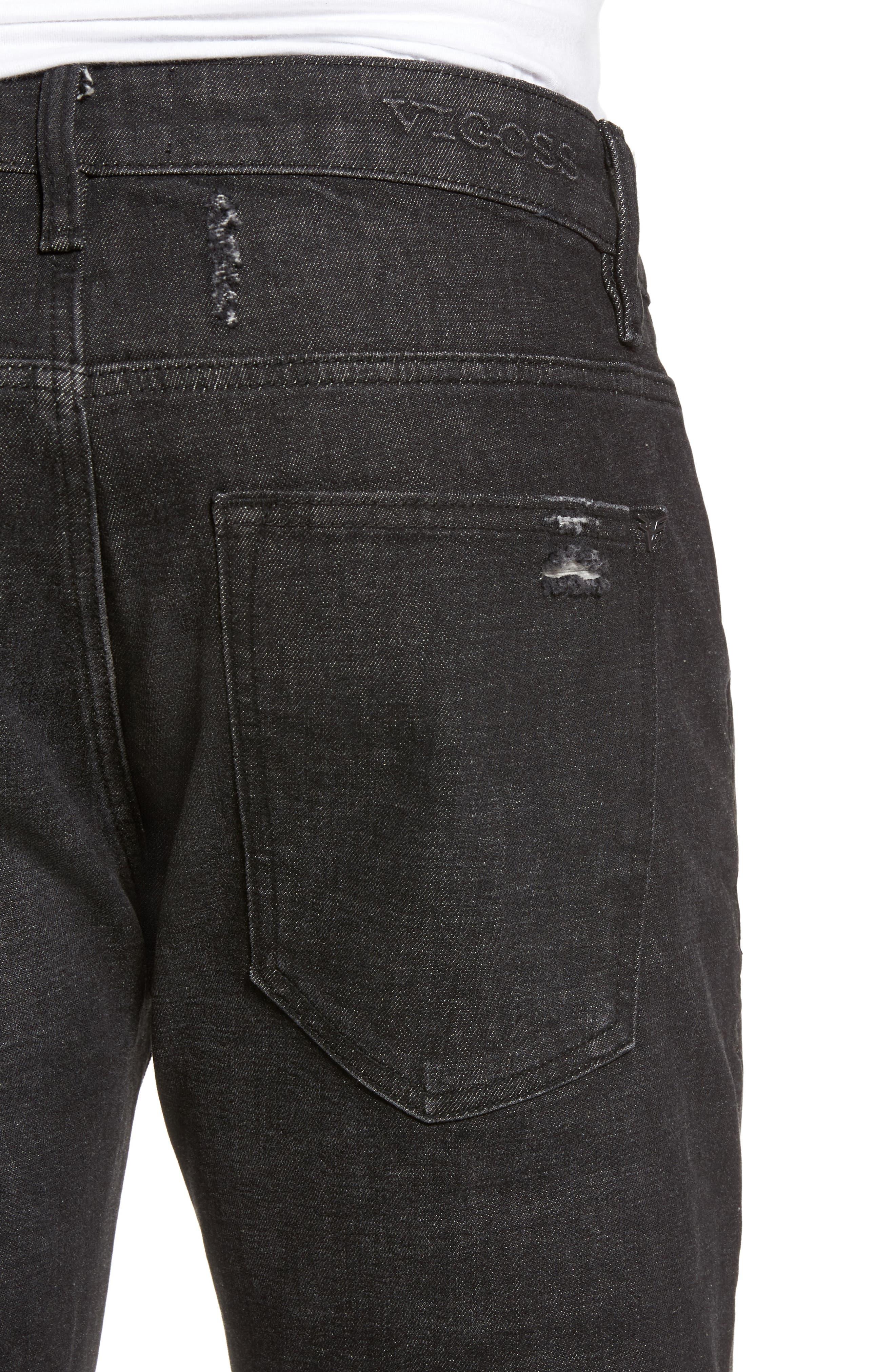 Slim Straight Leg Jeans,                             Alternate thumbnail 4, color,                             001
