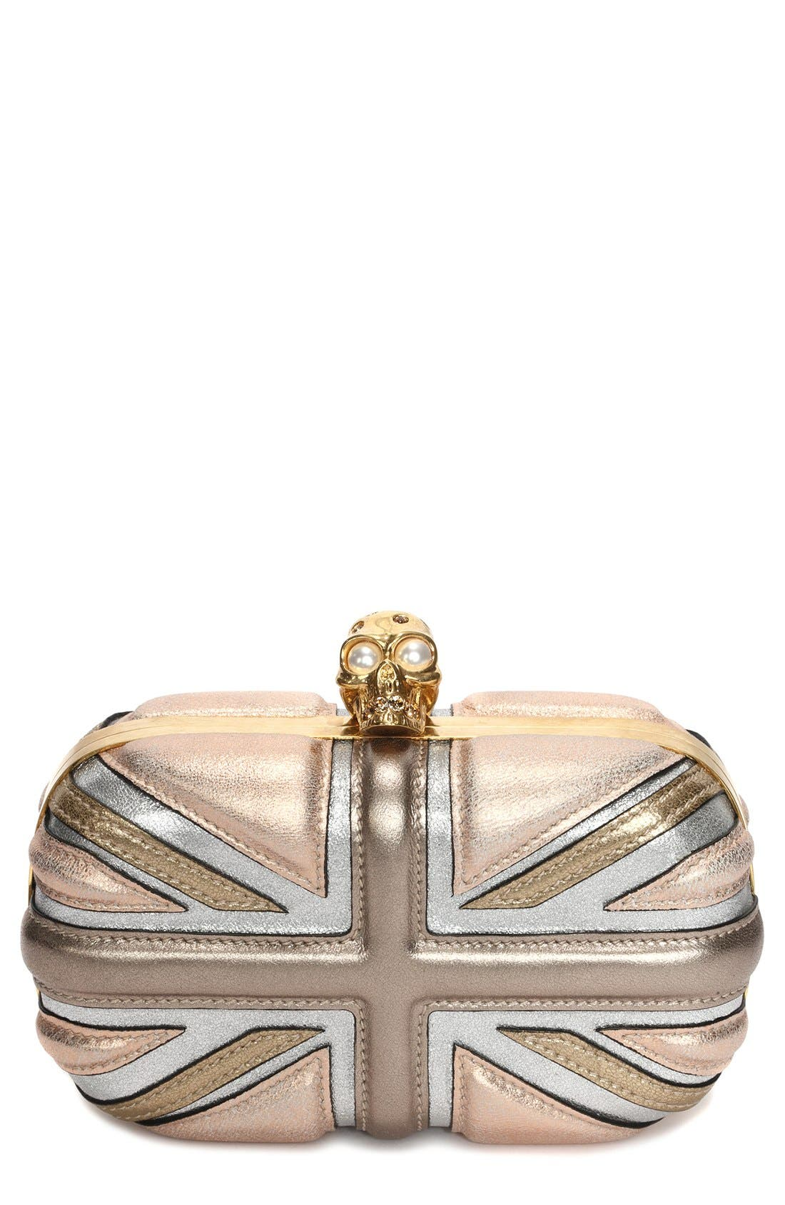 ALEXANDER MCQUEEN,                             'Britannia' Union Jack Box Clutch,                             Main thumbnail 1, color,                             710