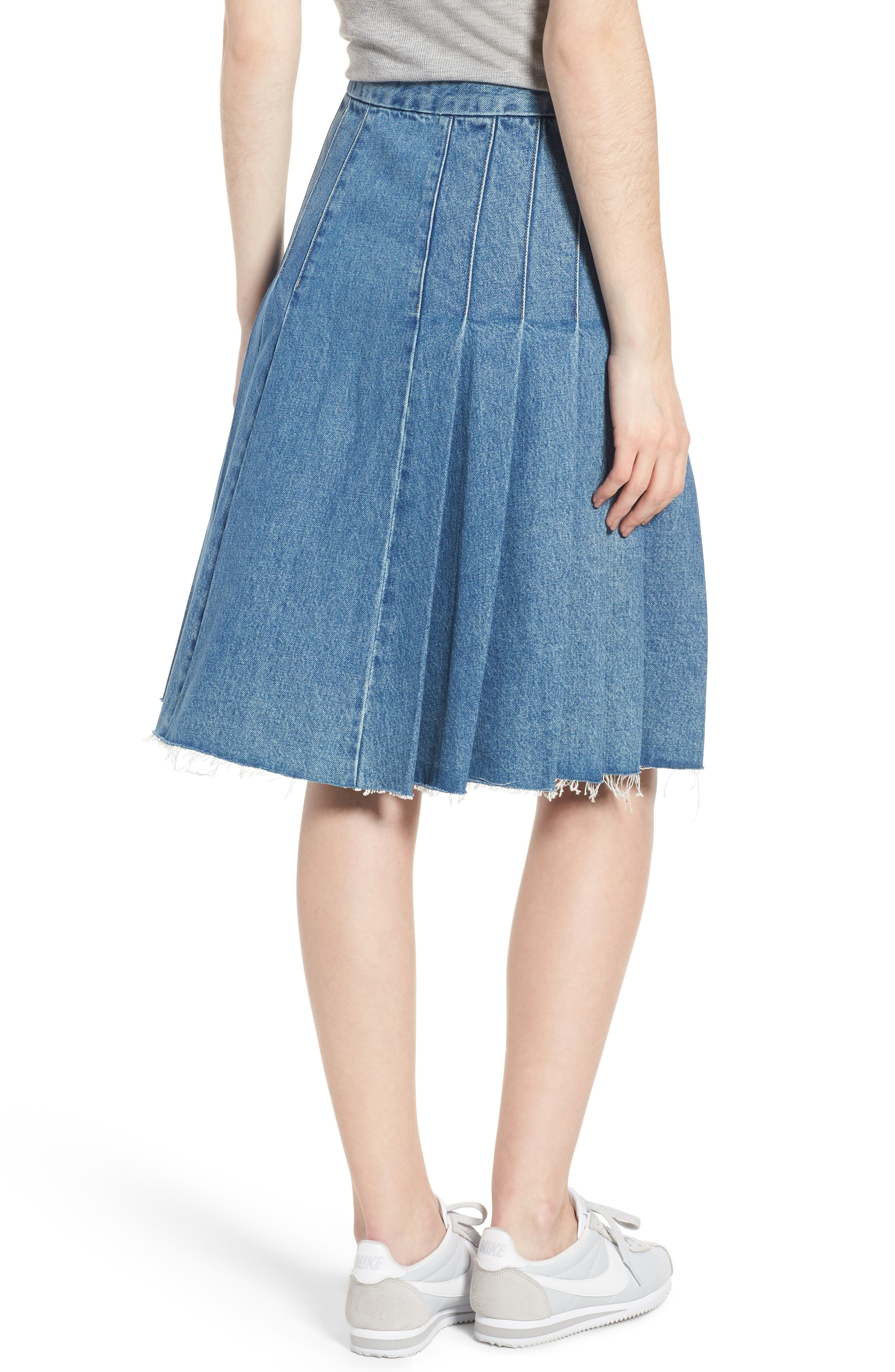 LEVI'S<SUP>®</SUP> MADE & CRAFTED<SUP>™</SUP>,                             Type III Pleated Denim Skirt,                             Alternate thumbnail 2, color,                             400