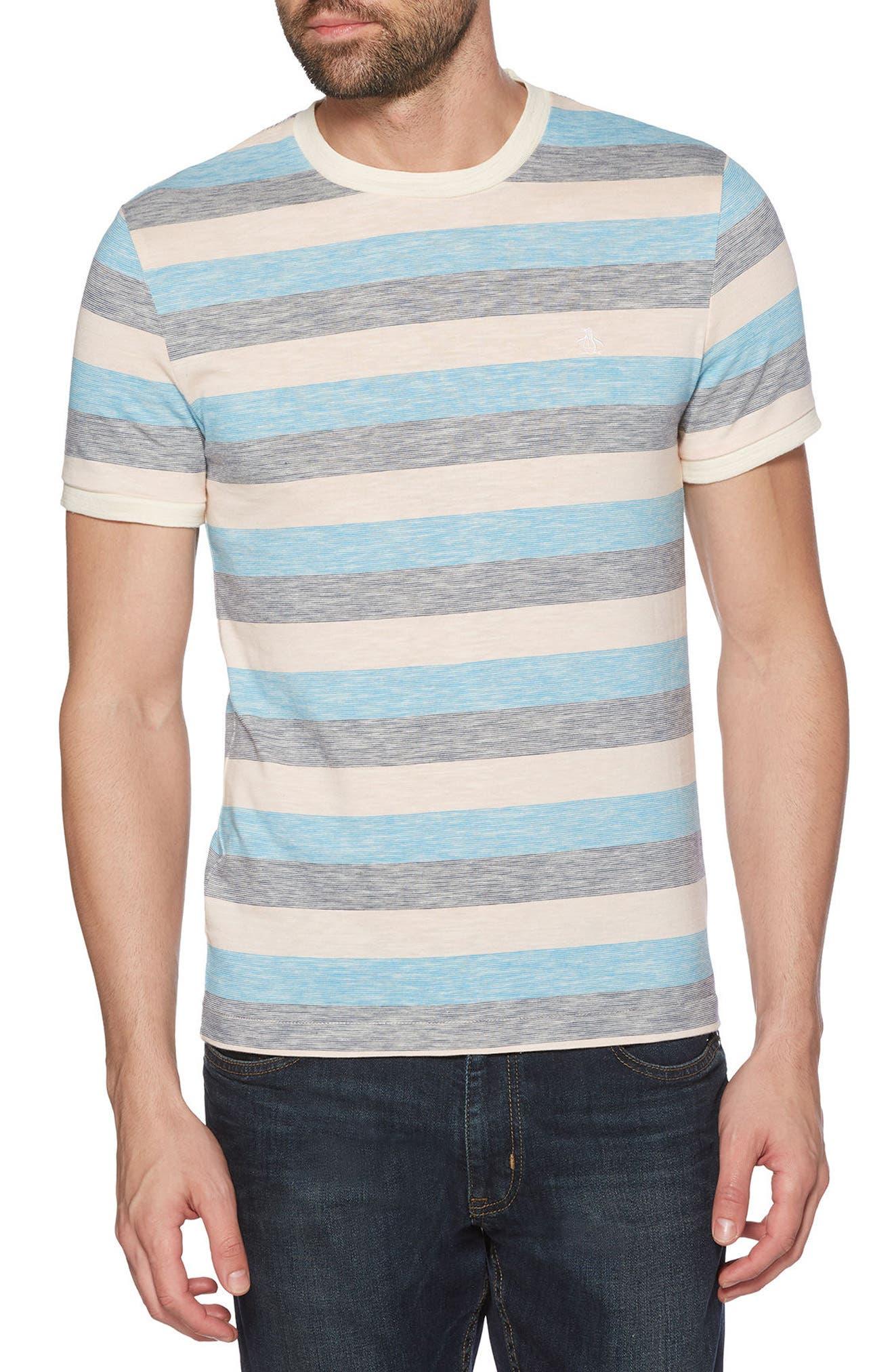 ORIGINAL PENGUIN Reverse Feeder Stripe T-Shirt, Main, color, 682