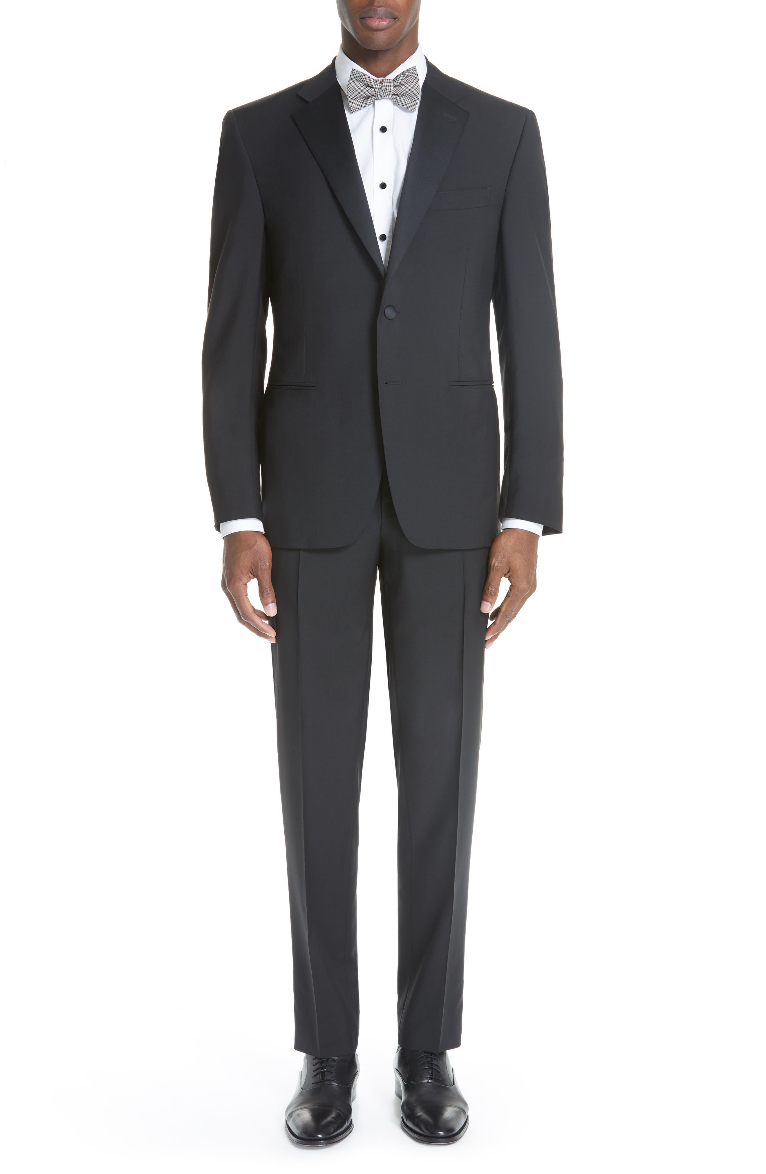 13000 Classic Fit Wool & Mohair Tuxedo,                             Main thumbnail 1, color,                             BLACK