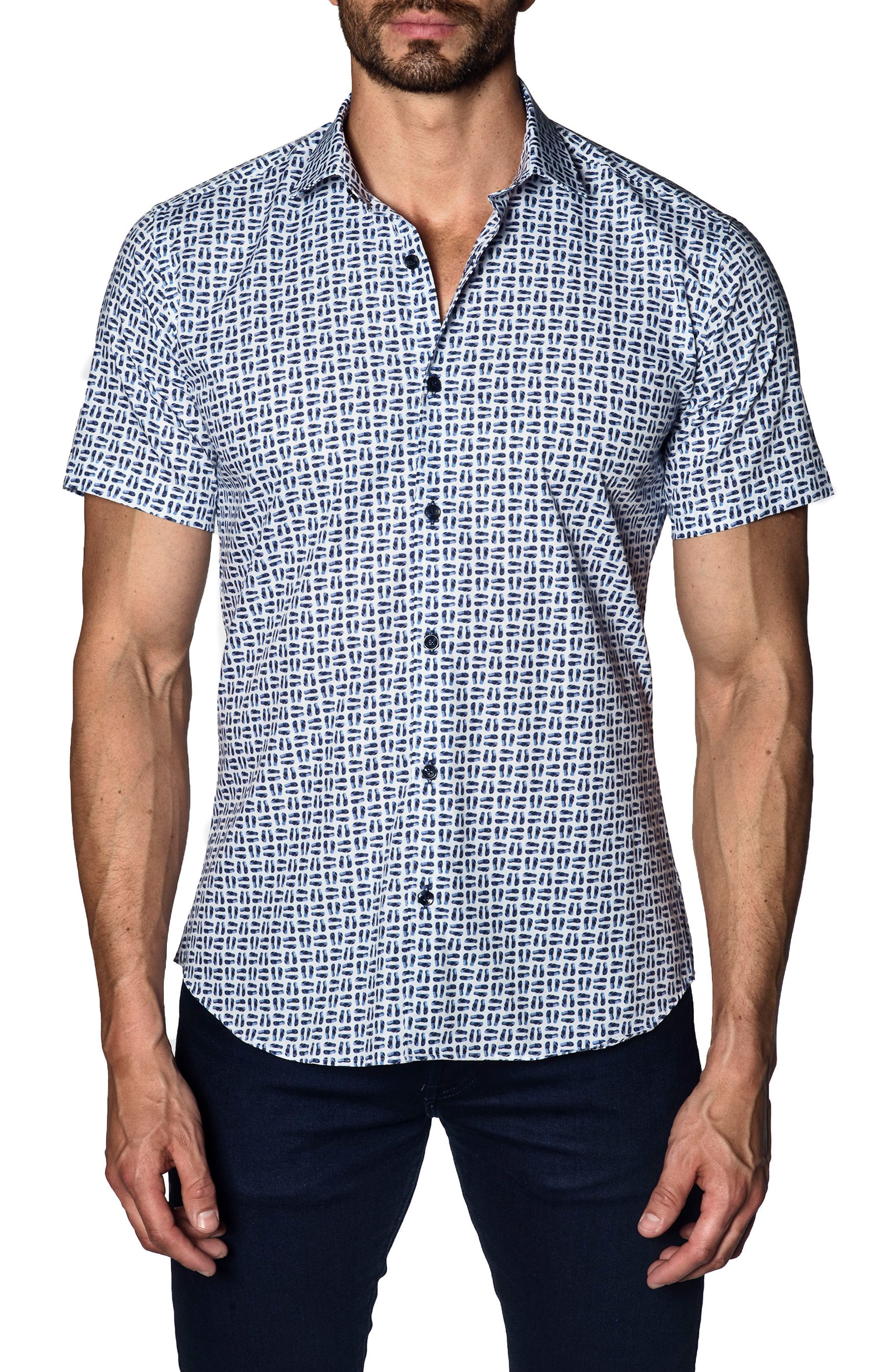 Trim Fit Print Sport Shirt,                             Main thumbnail 1, color,                             100