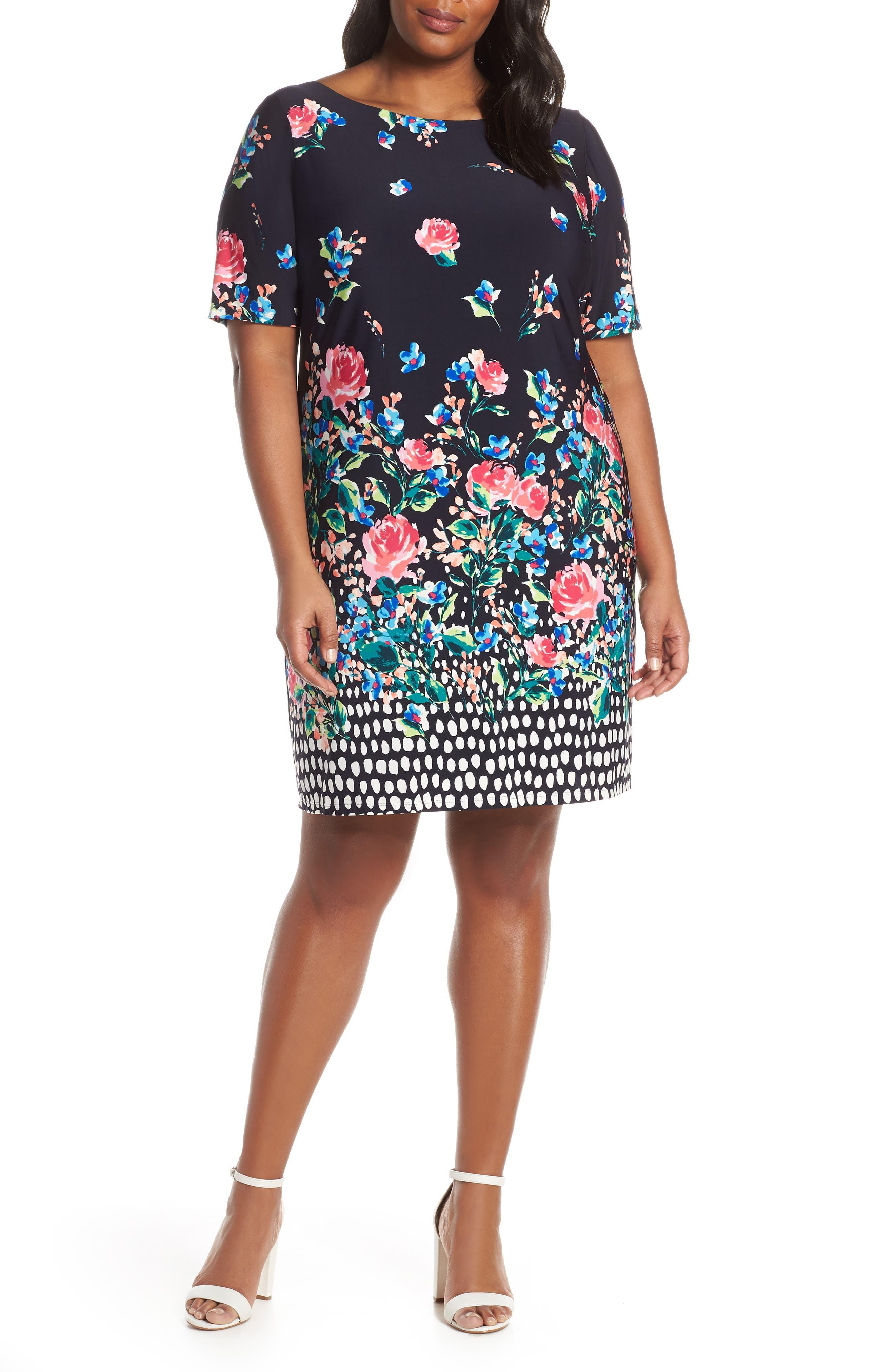 Plus Size Eliza J Jersey Shift Dress, Blue