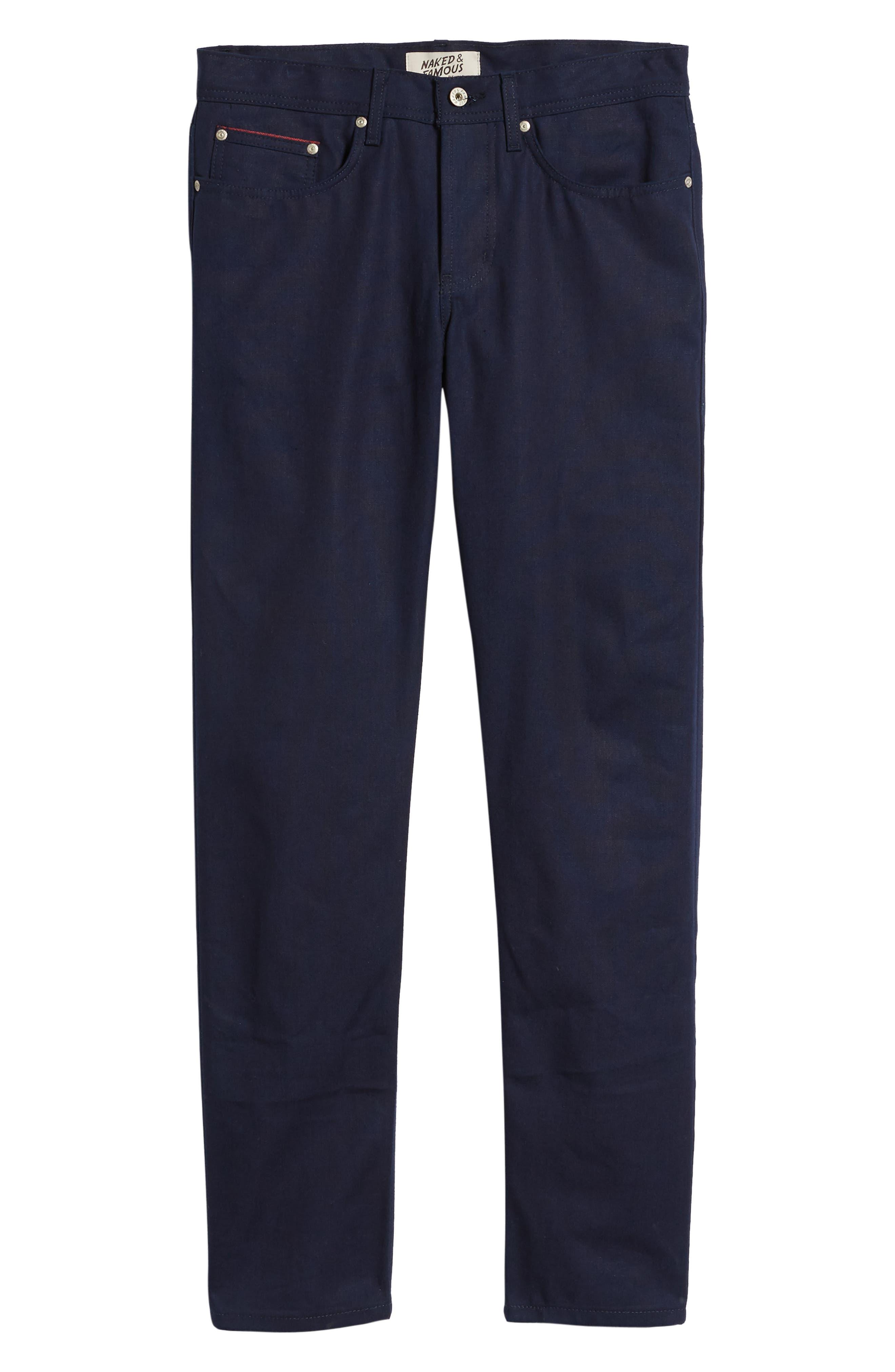 Weird Guy Slim Fit Jeans,                             Alternate thumbnail 6, color,                             INDIGO DUCK CANVAS SELVEDGE