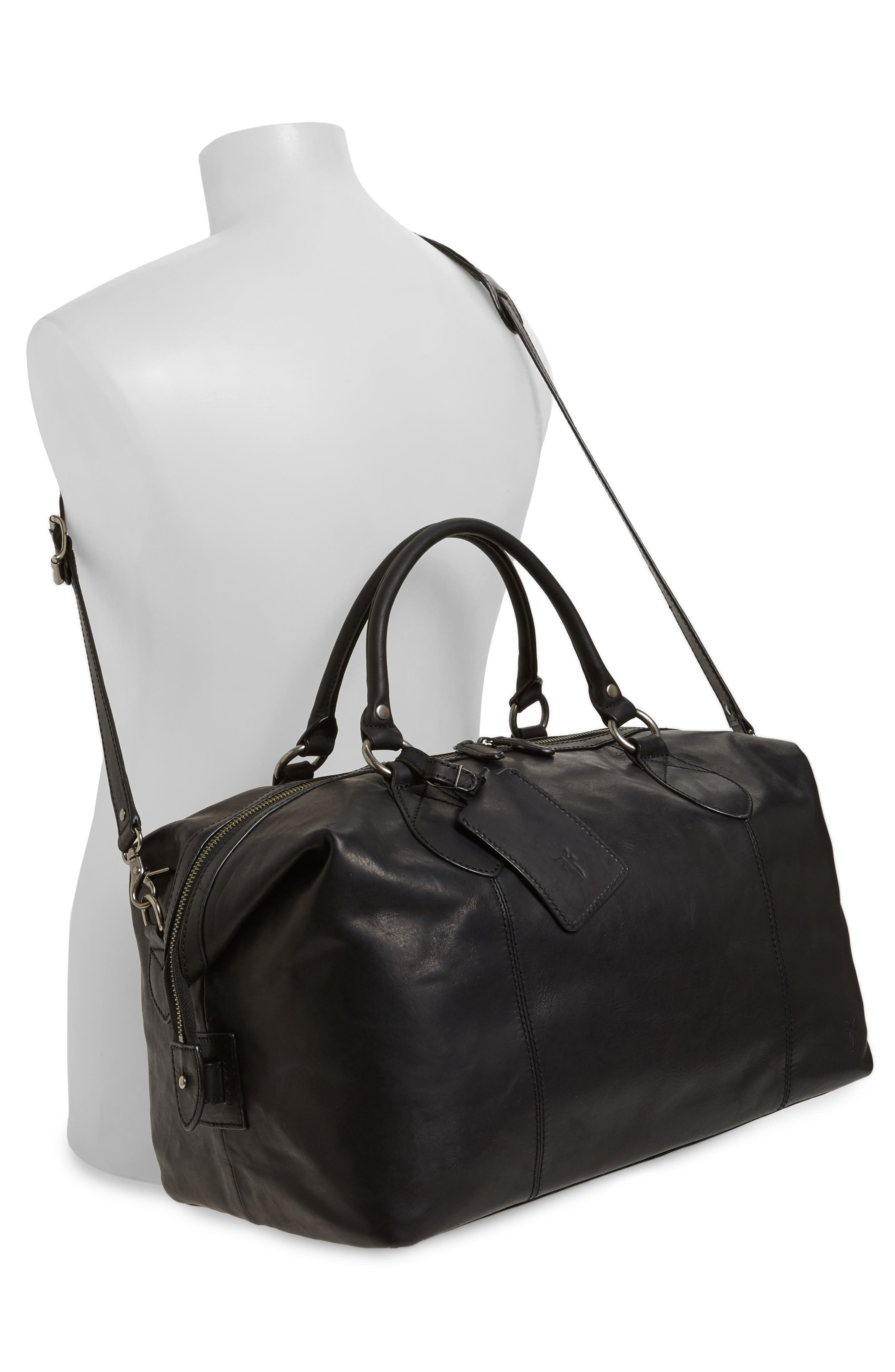 'Logan' Leather Overnight Bag,                             Alternate thumbnail 2, color,                             001