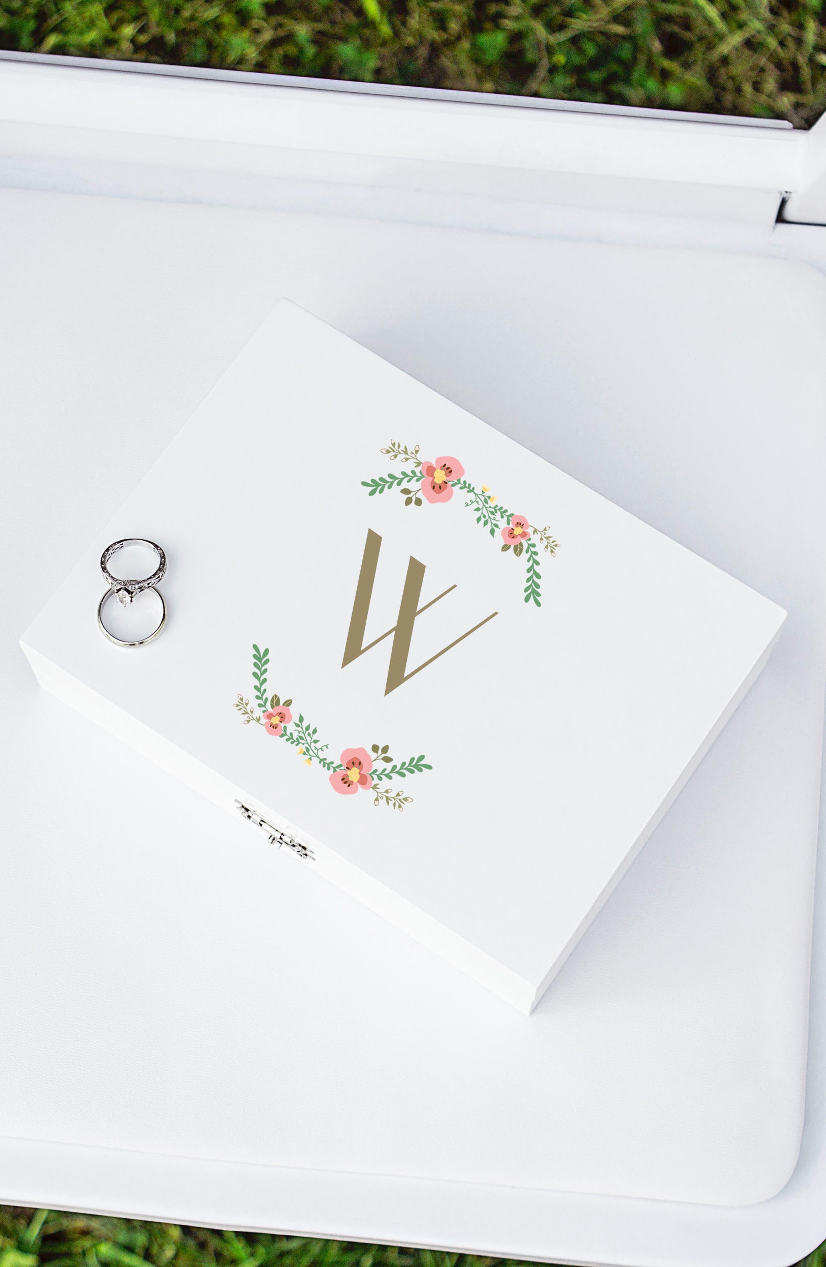 Monogram Floral Wedding Ring Box,                             Alternate thumbnail 31, color,