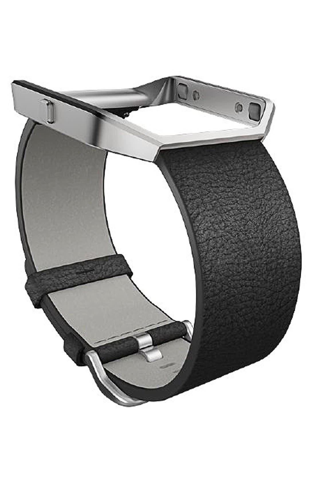 Blaze Leather Smart Watch Band,                             Main thumbnail 1, color,                             BLACK