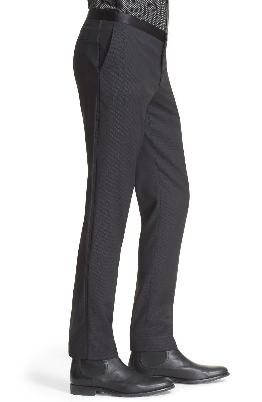'Netting' Wool Dress Pants,                             Alternate thumbnail 3, color,                             001