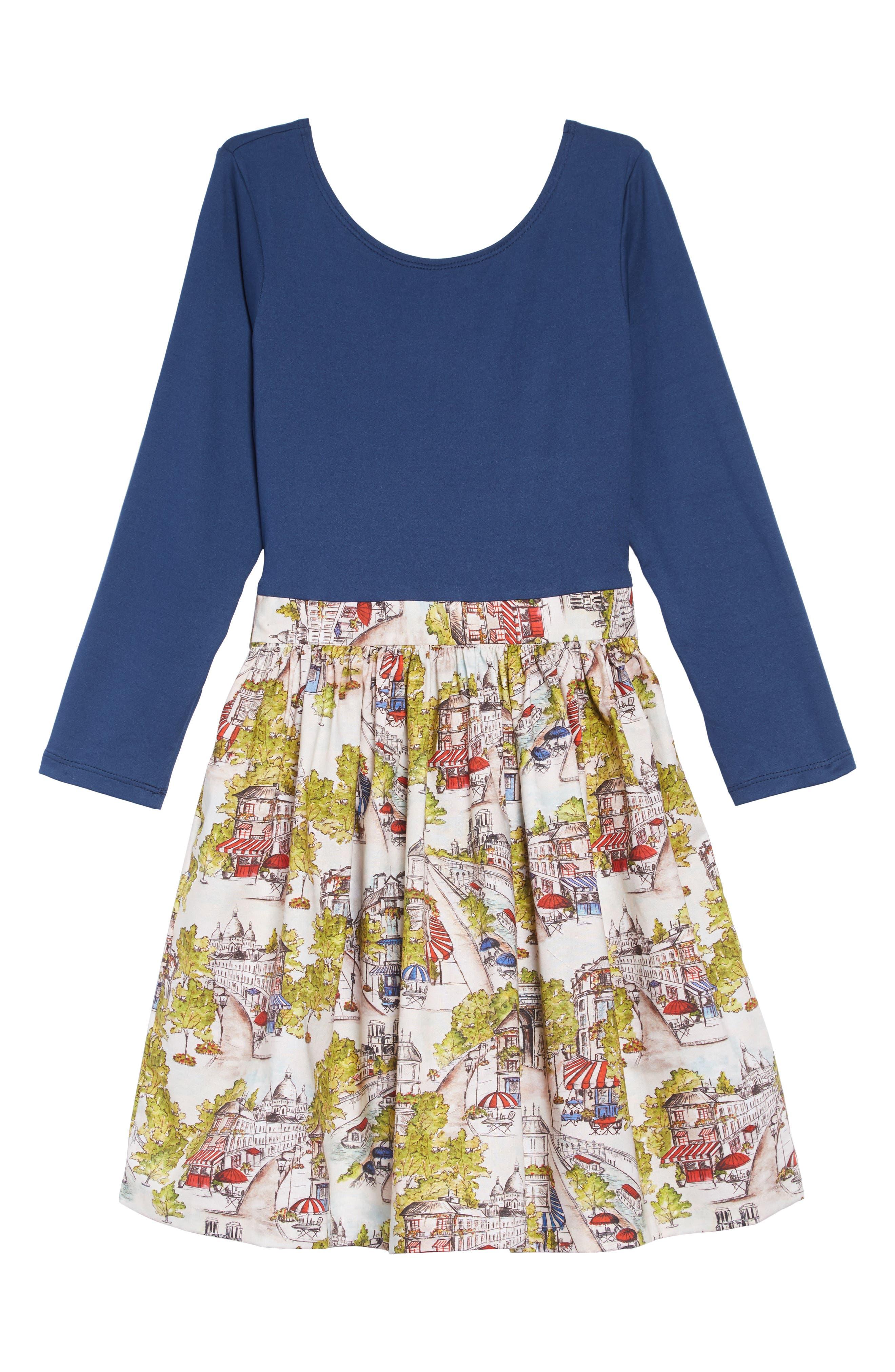Print A-Line Dress,                         Main,                         color, BLUE