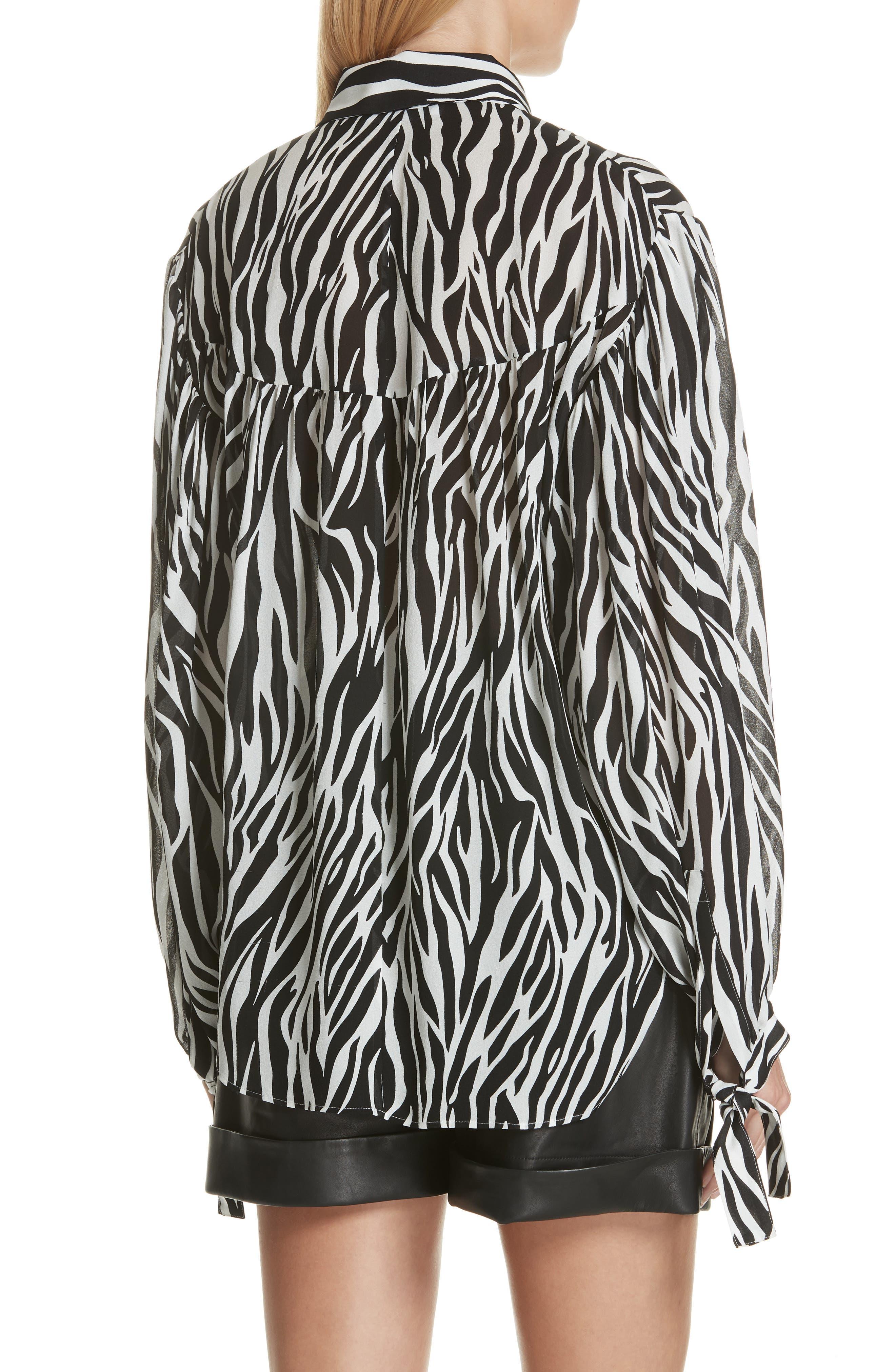 Zebra Print Tie Cuff Blouse,                             Alternate thumbnail 2, color,                             001