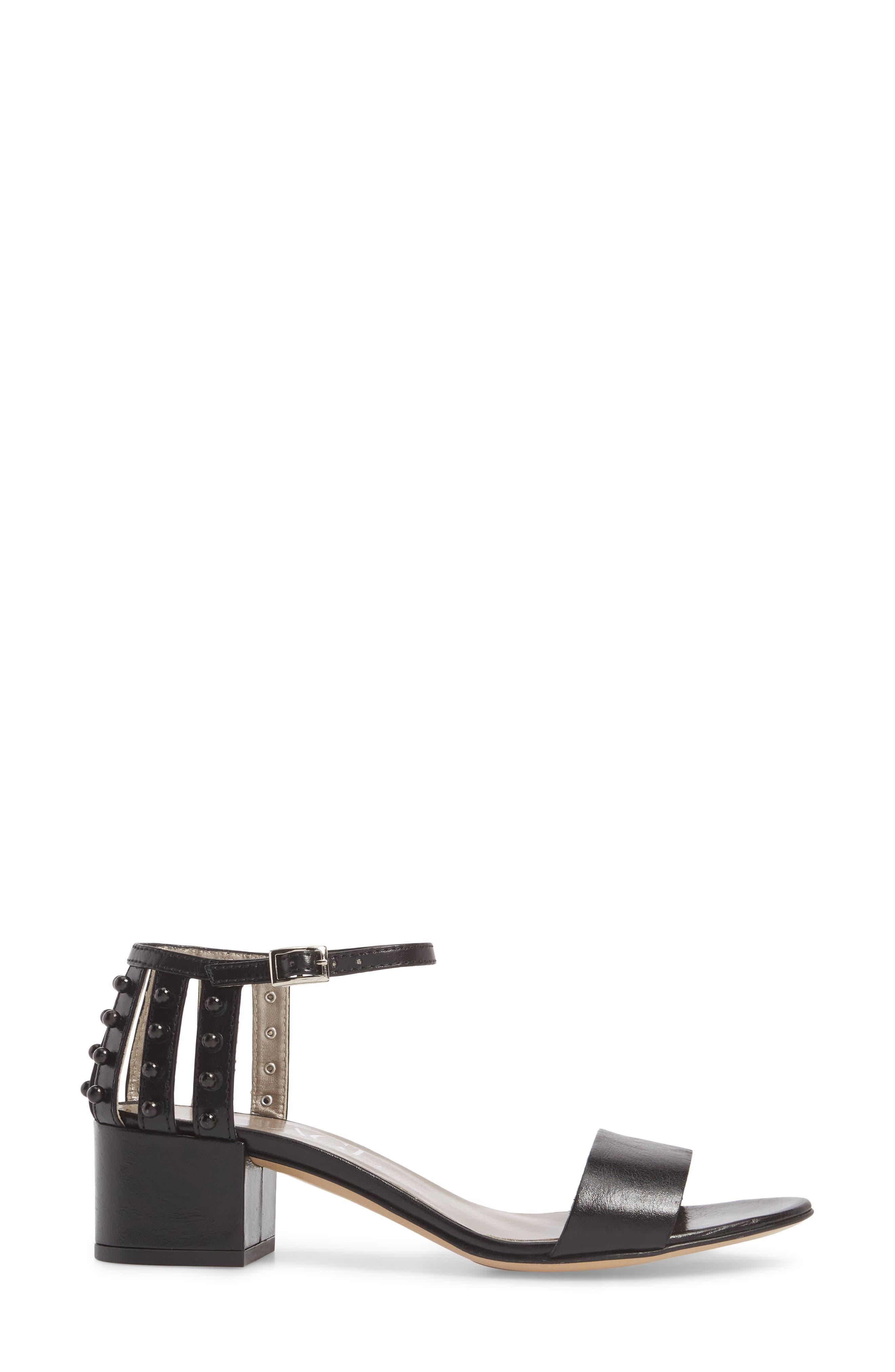 Embellished Ankle Strap Sandal,                             Alternate thumbnail 3, color,                             001