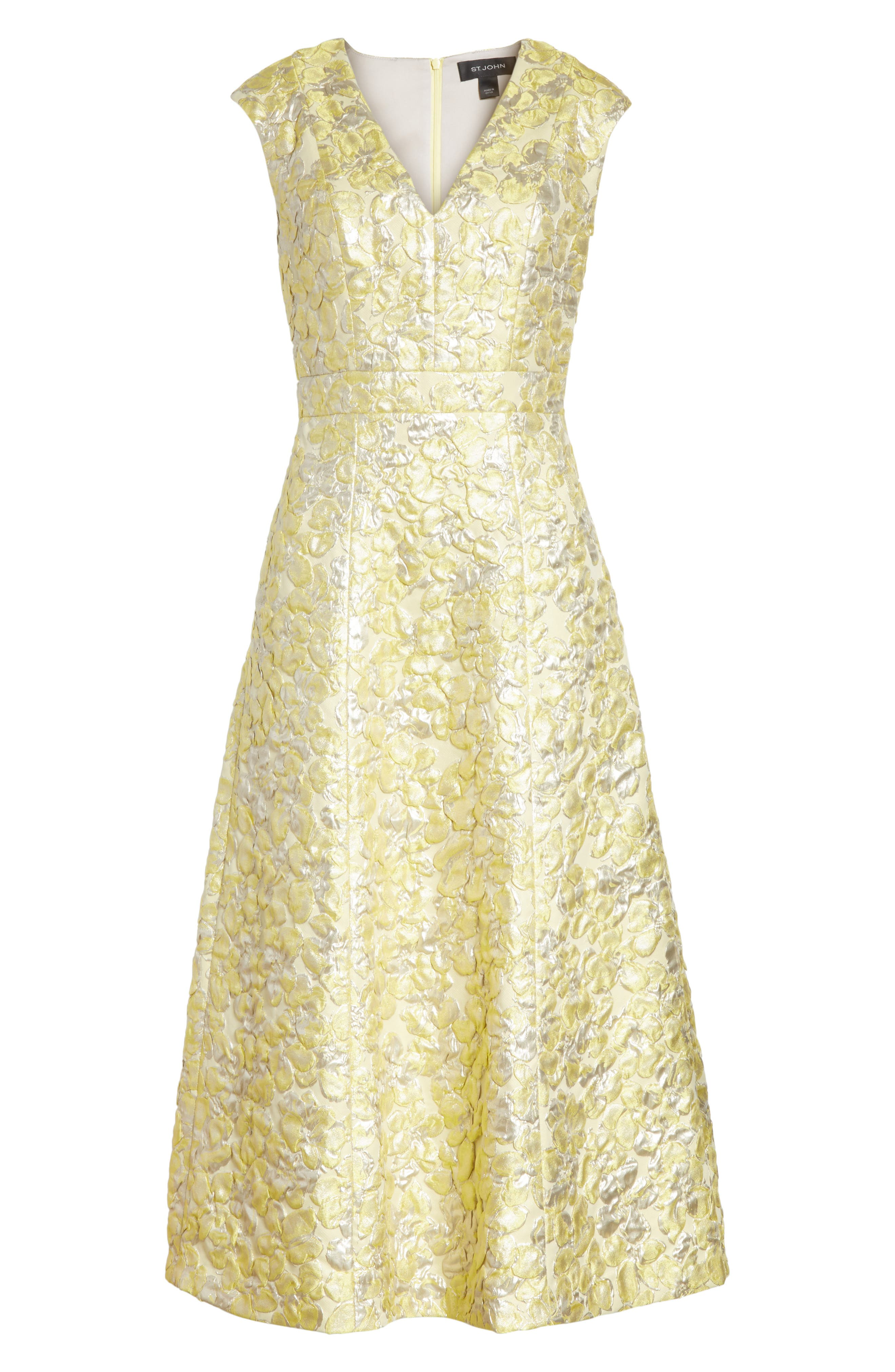 Metallic Floral Jacquard Dress,                             Alternate thumbnail 6, color,                             730