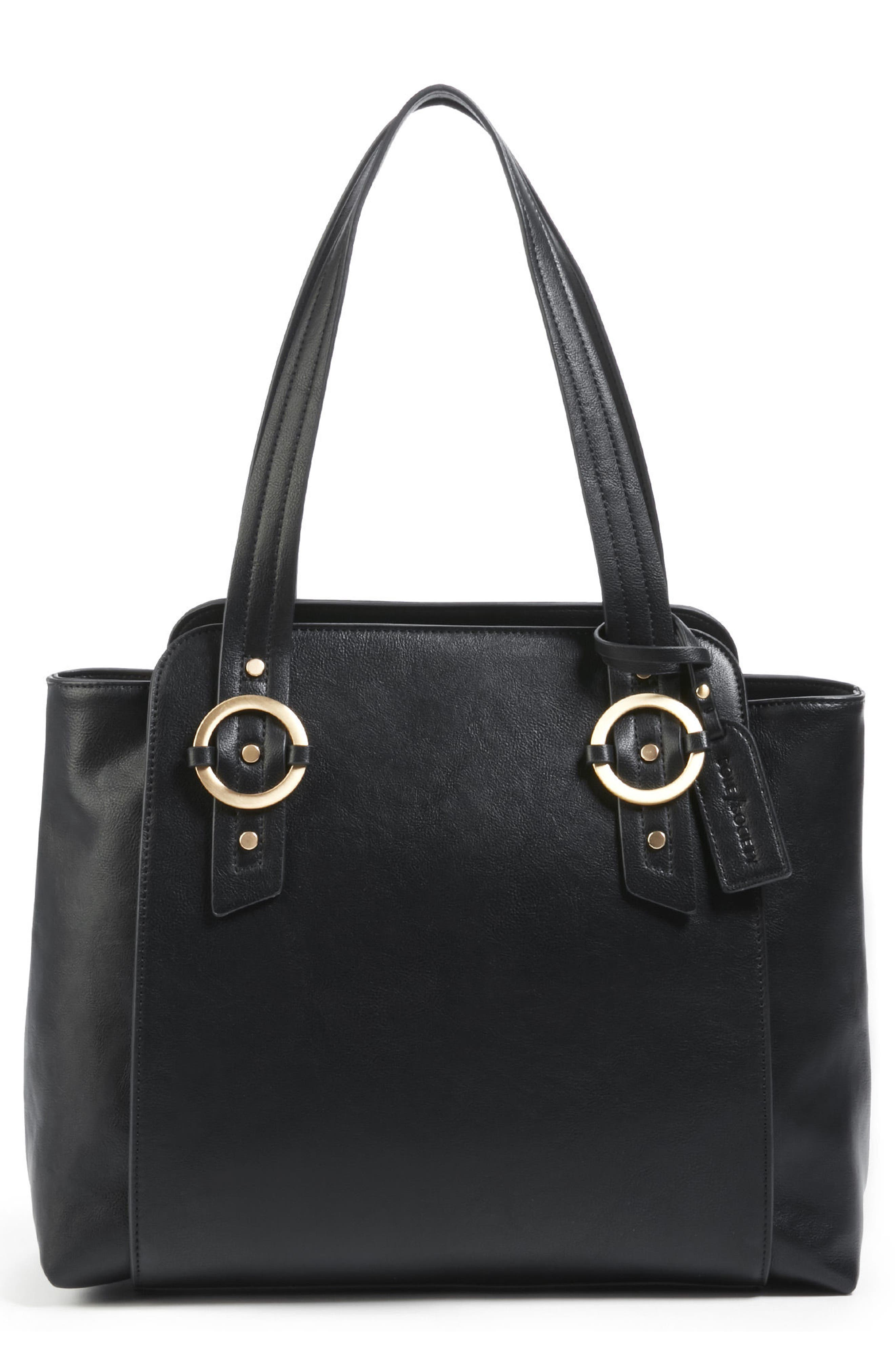 Faux Leather Tote,                             Main thumbnail 1, color,                             001