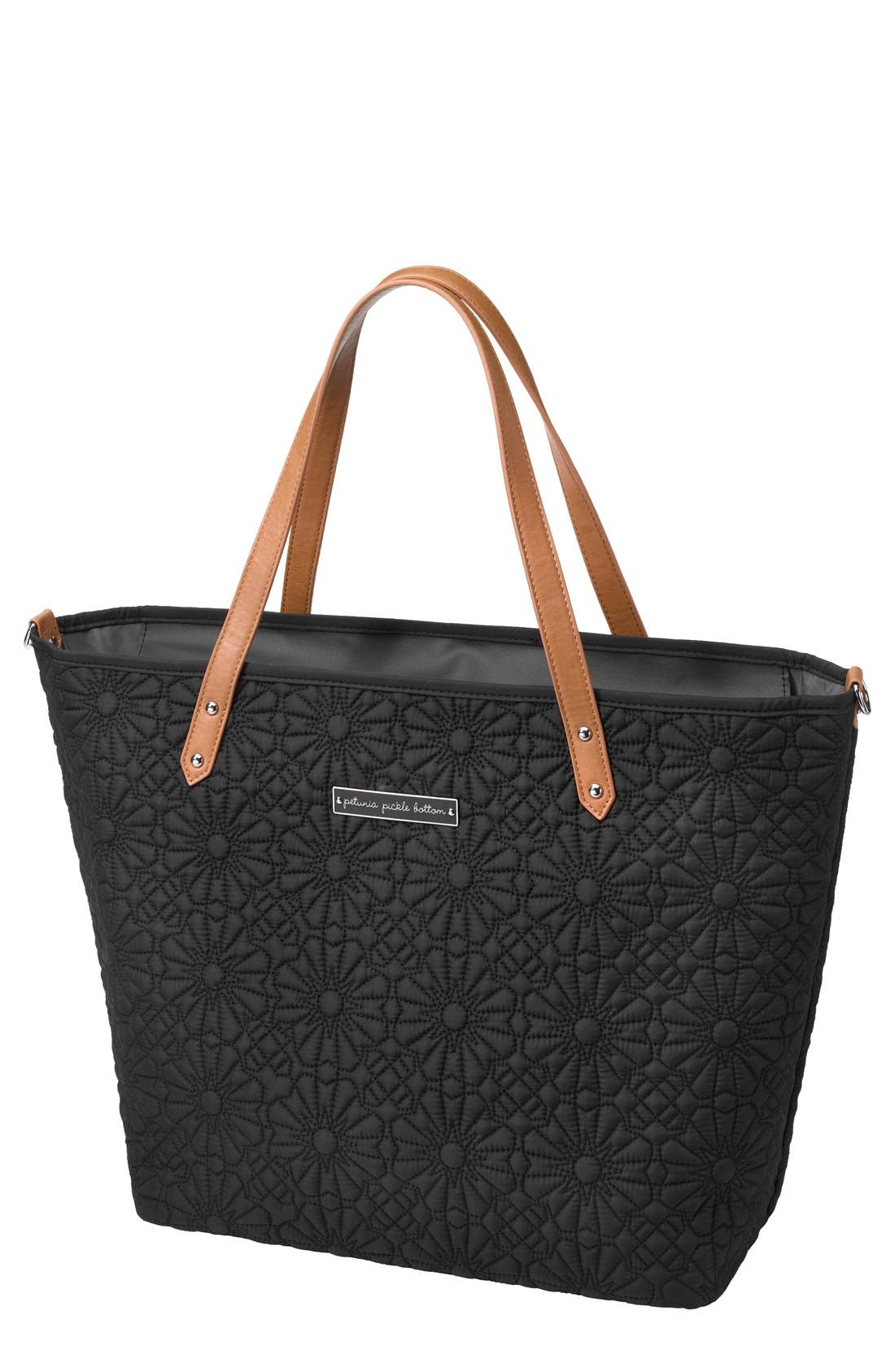 'Downtown' Floral Embossed Diaper Tote,                             Main thumbnail 1, color,                             002