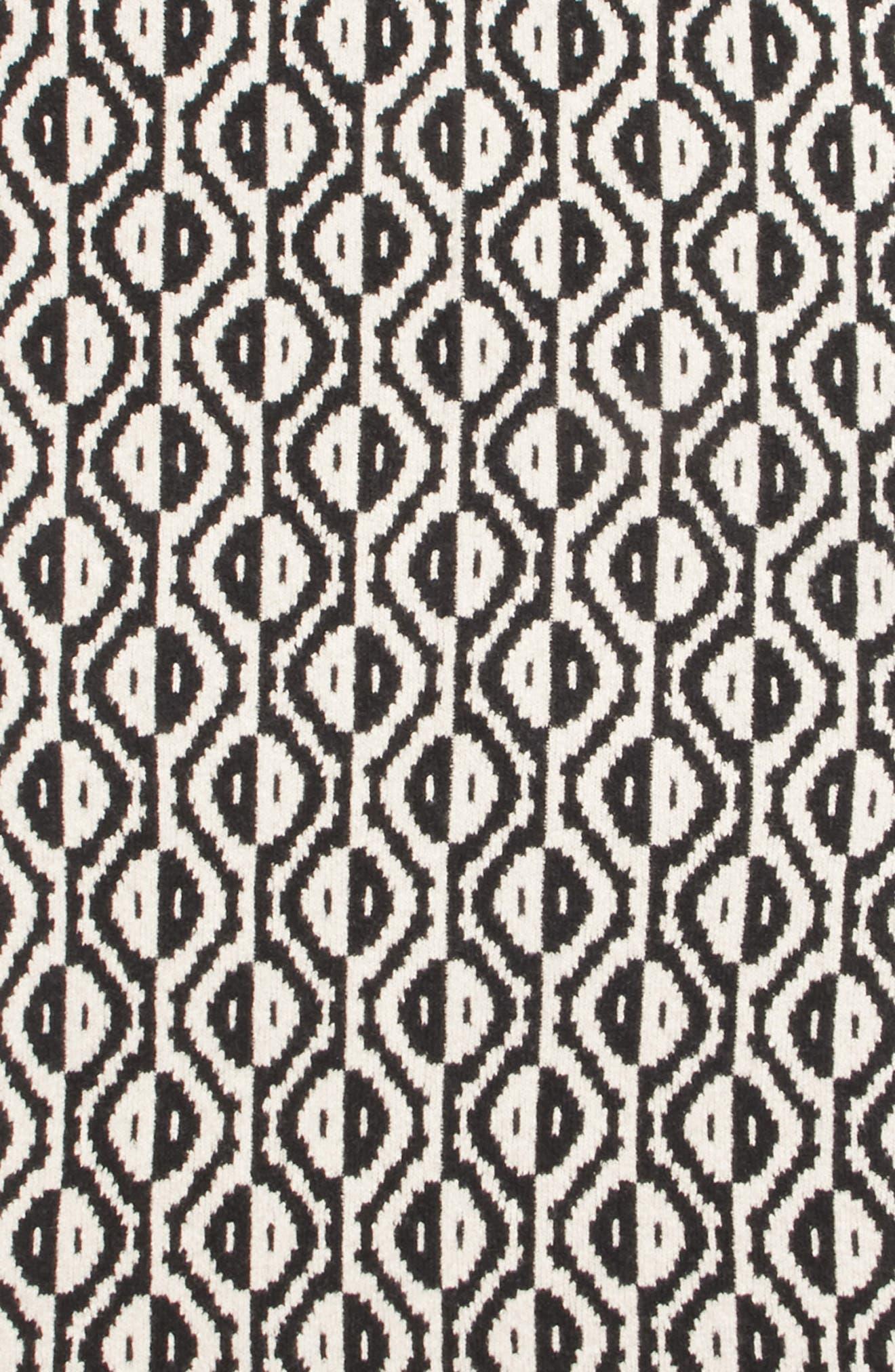 Geo Jacquard Merino Wool Blend Scarf,                             Alternate thumbnail 3, color,                             BLACK