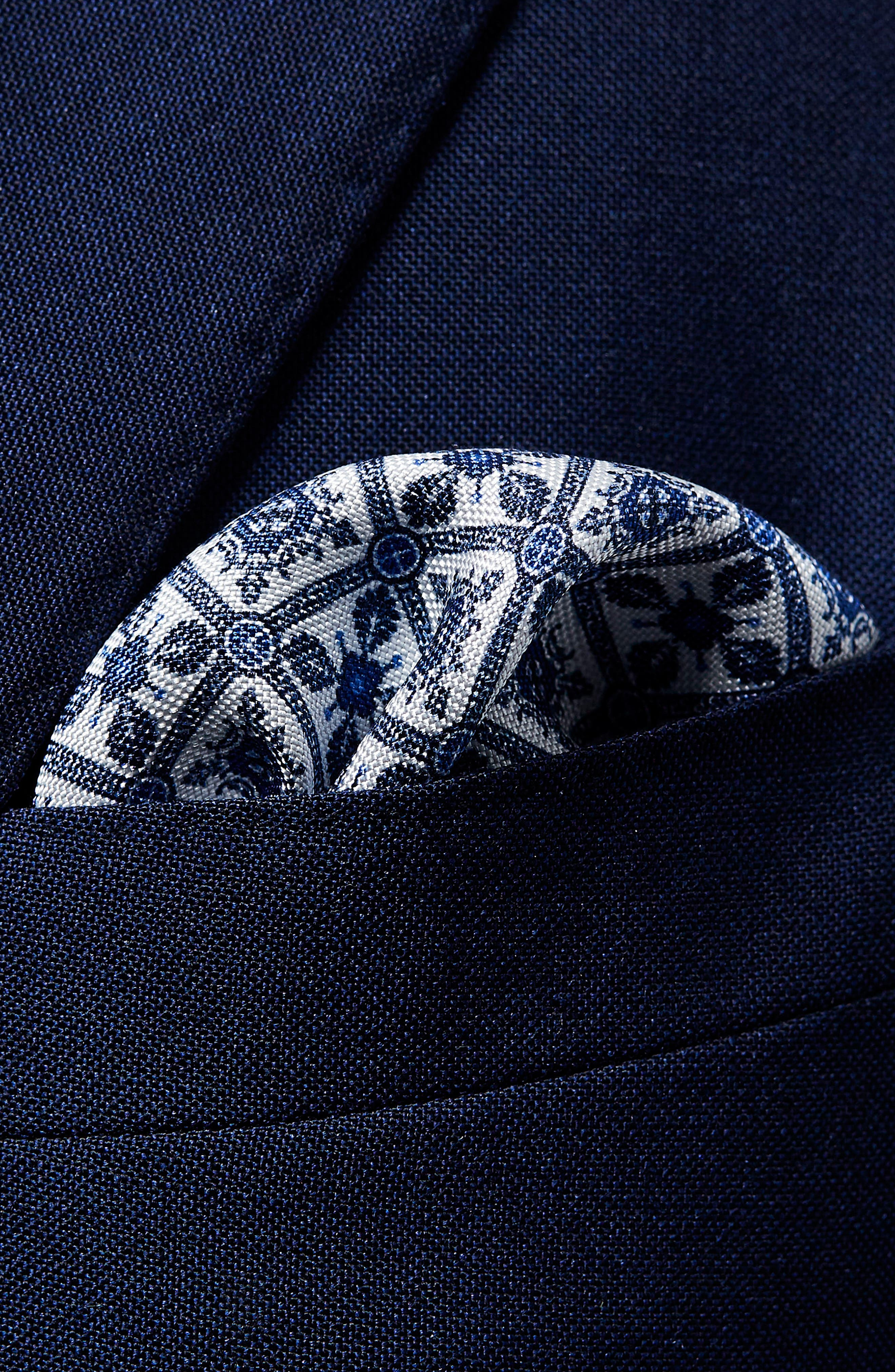 Tile Pocket Silk Pocket Square,                             Alternate thumbnail 2, color,                             BLUE