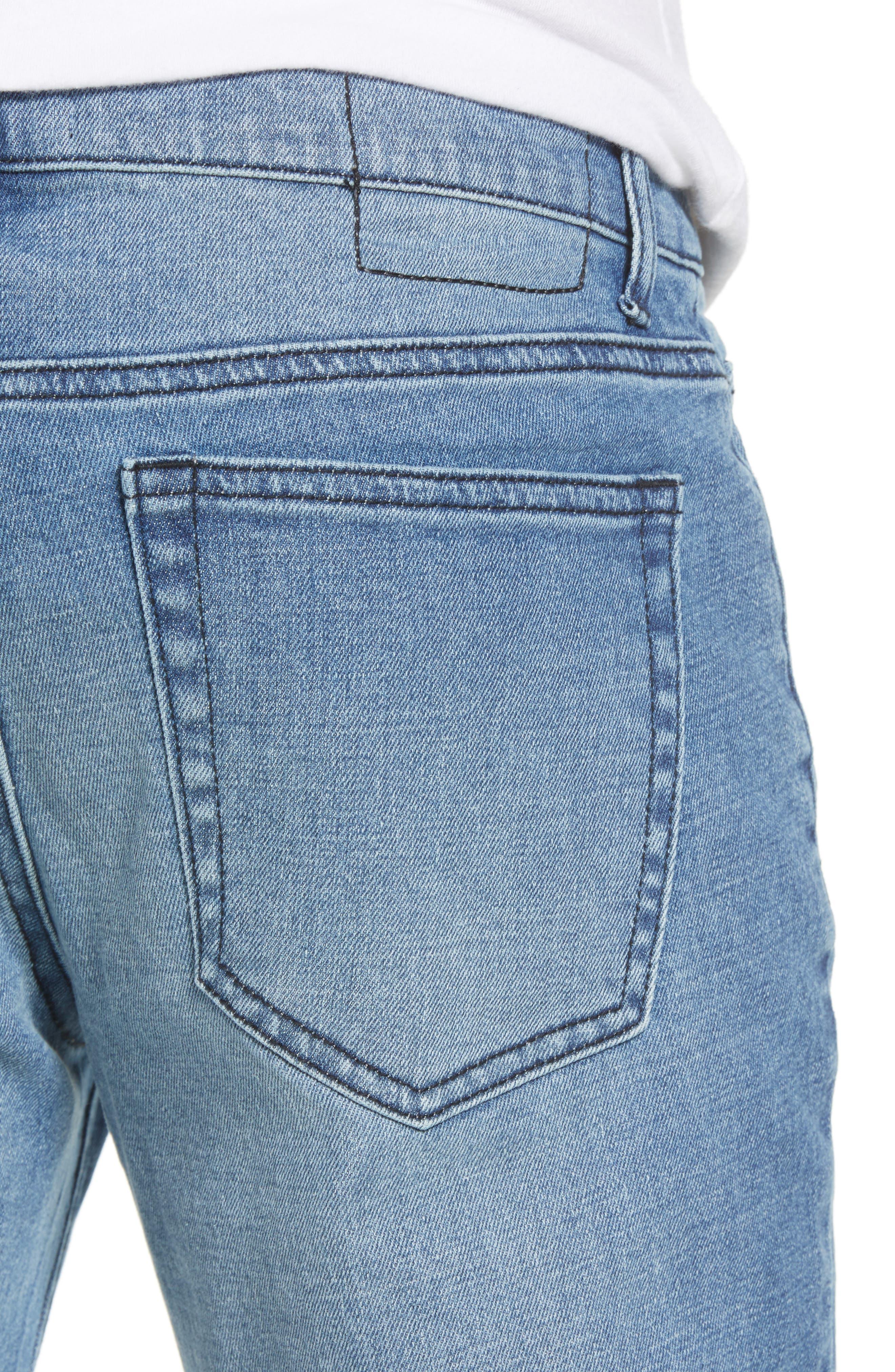 Skinny Moto Jeans,                             Alternate thumbnail 4, color,                             BLUE RIVERS WASH