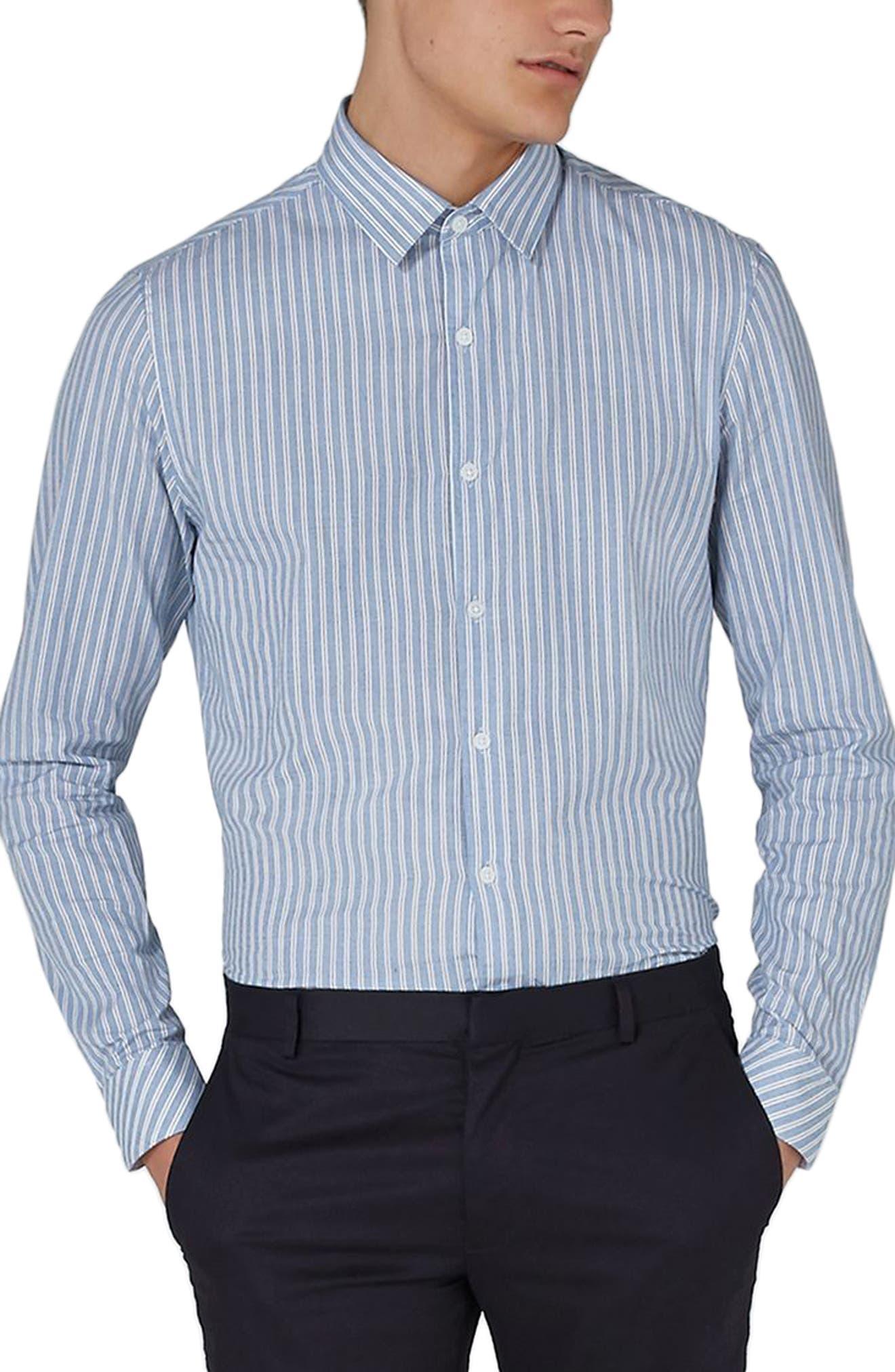 Classic Fit Stripe Smart Shirt,                         Main,                         color, BLUE MULTI