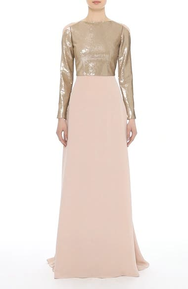 Sequin Front A-Line Silk Gown, video thumbnail
