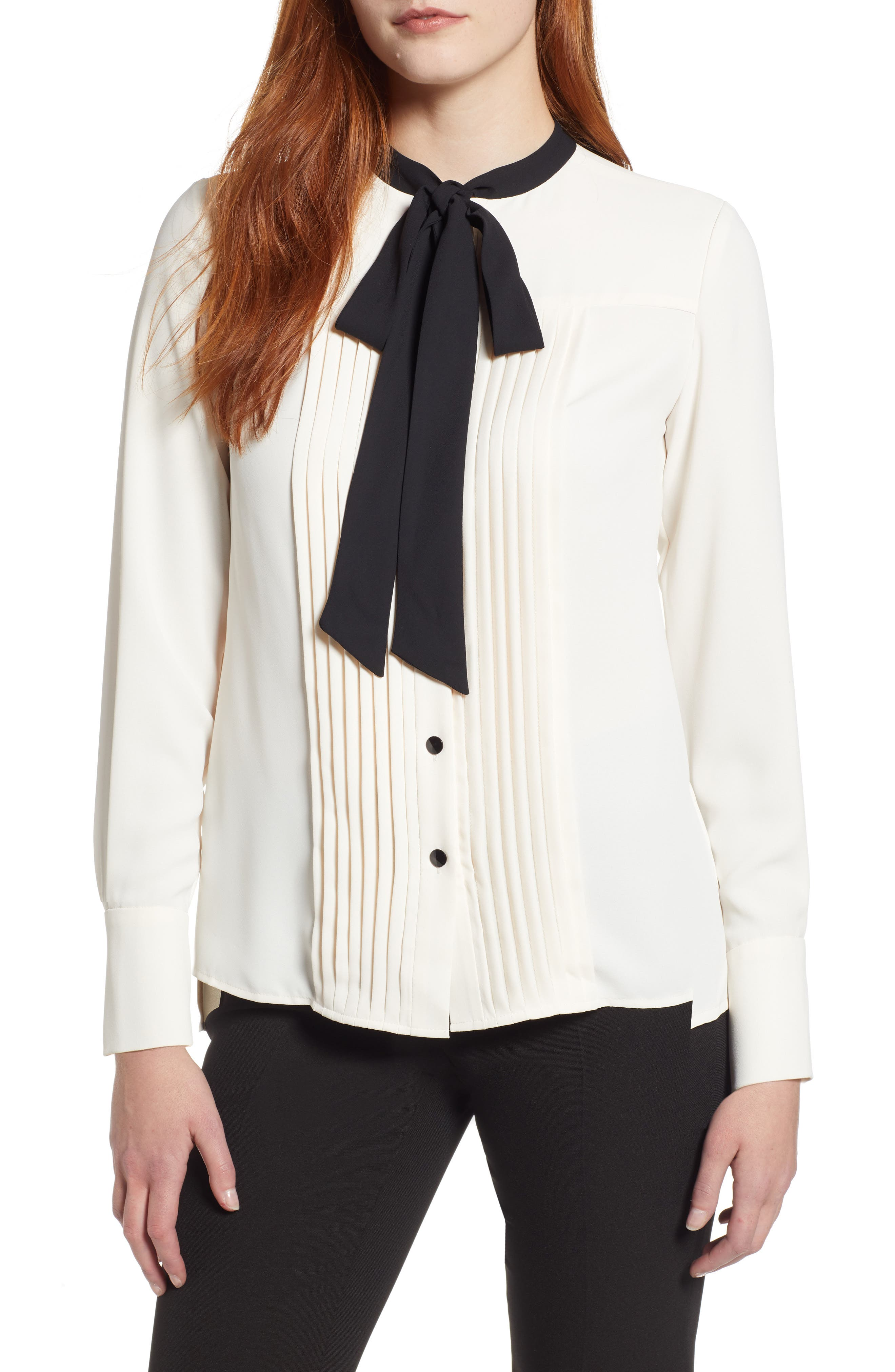1920s Style Blouses, Shirts, Sweaters, Cardigans Womens Anne Klein New York Bow Blouse Size 10 - White $89.00 AT vintagedancer.com