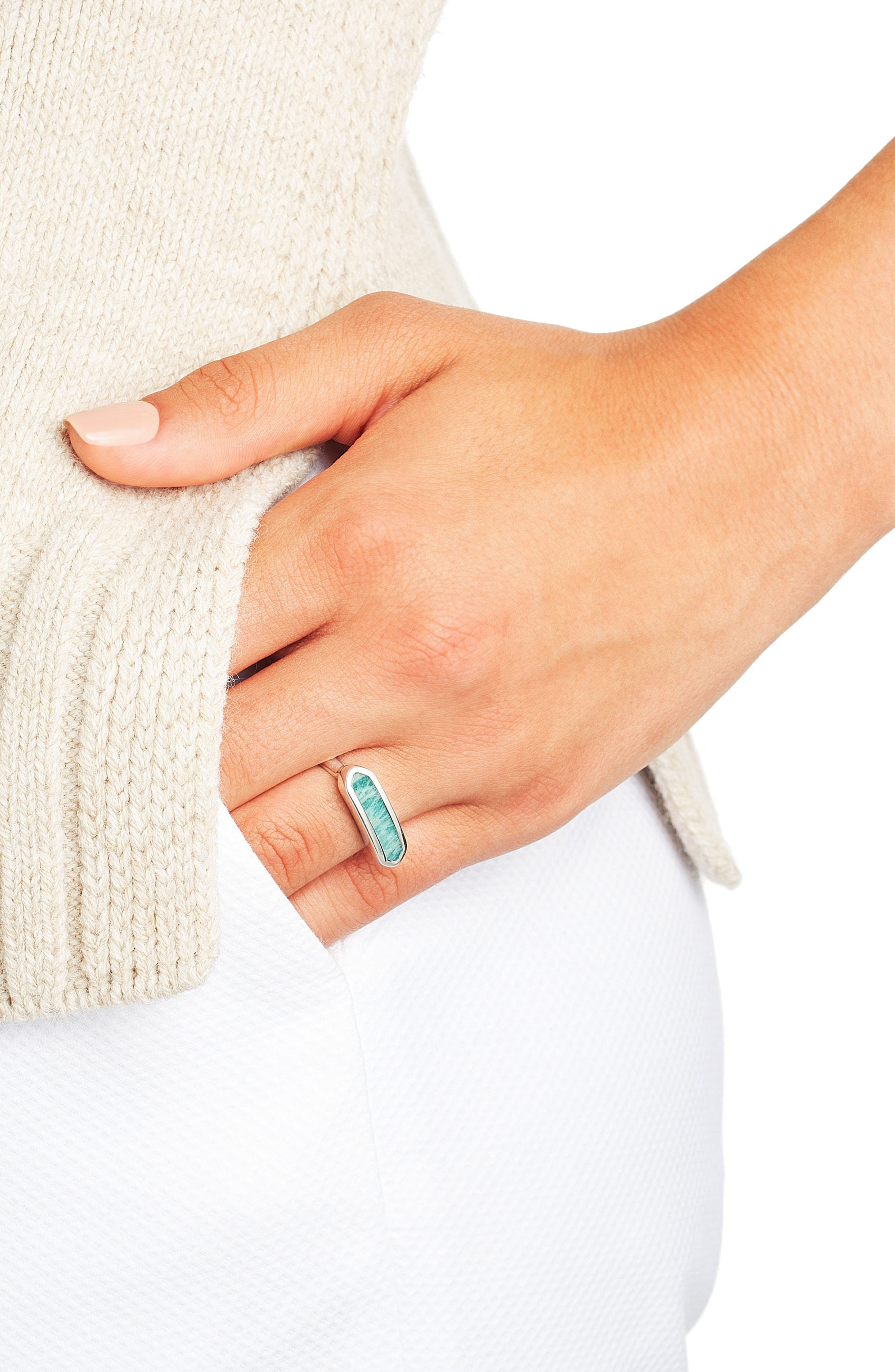 'Baja' Stone Ring,                             Alternate thumbnail 2, color,                             SILVER