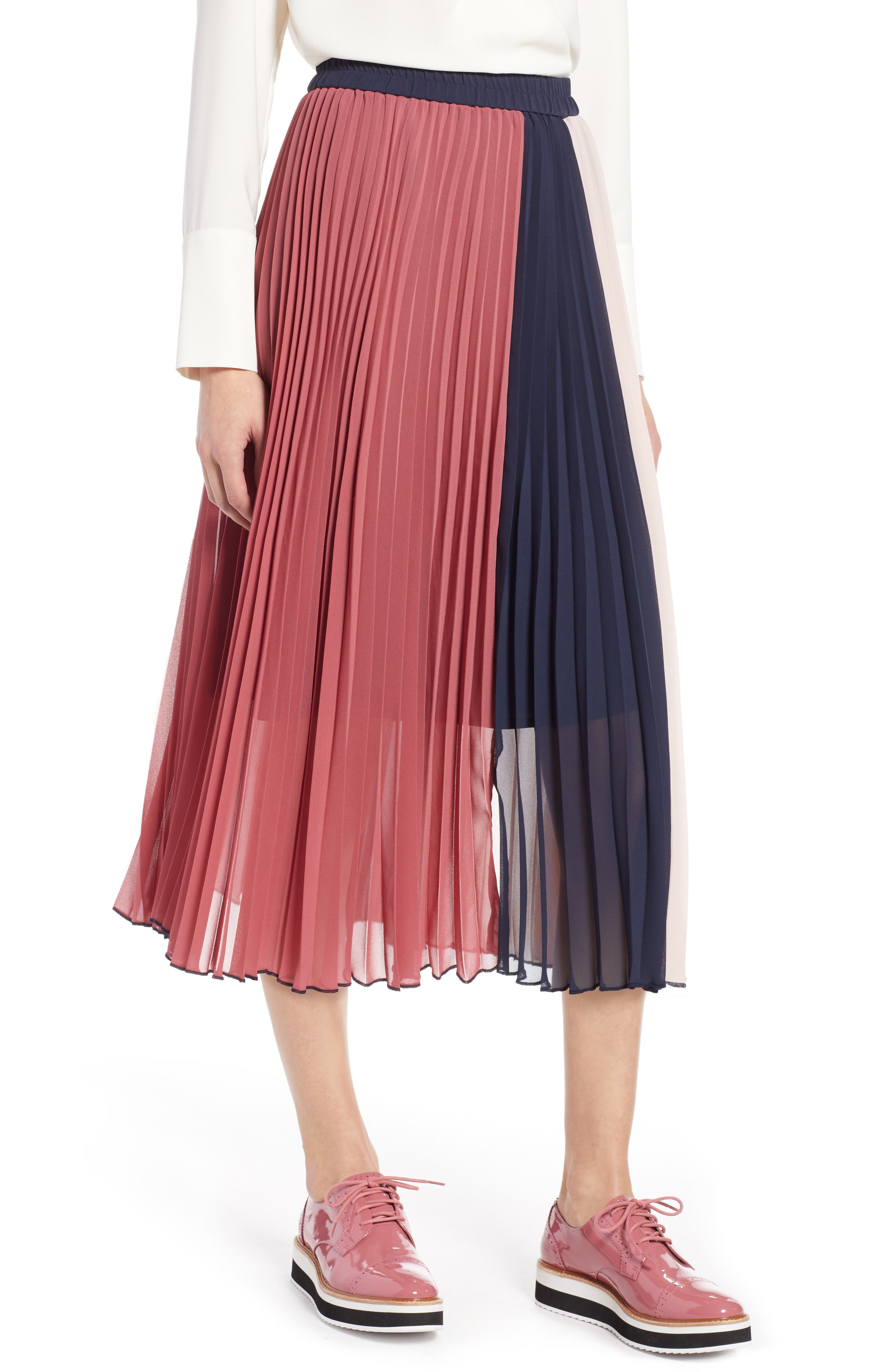 x Atlantic-Pacific Colorblock Pleated Midi Skirt,                             Main thumbnail 1, color,                             PINK- NAVY COLORBLOCK