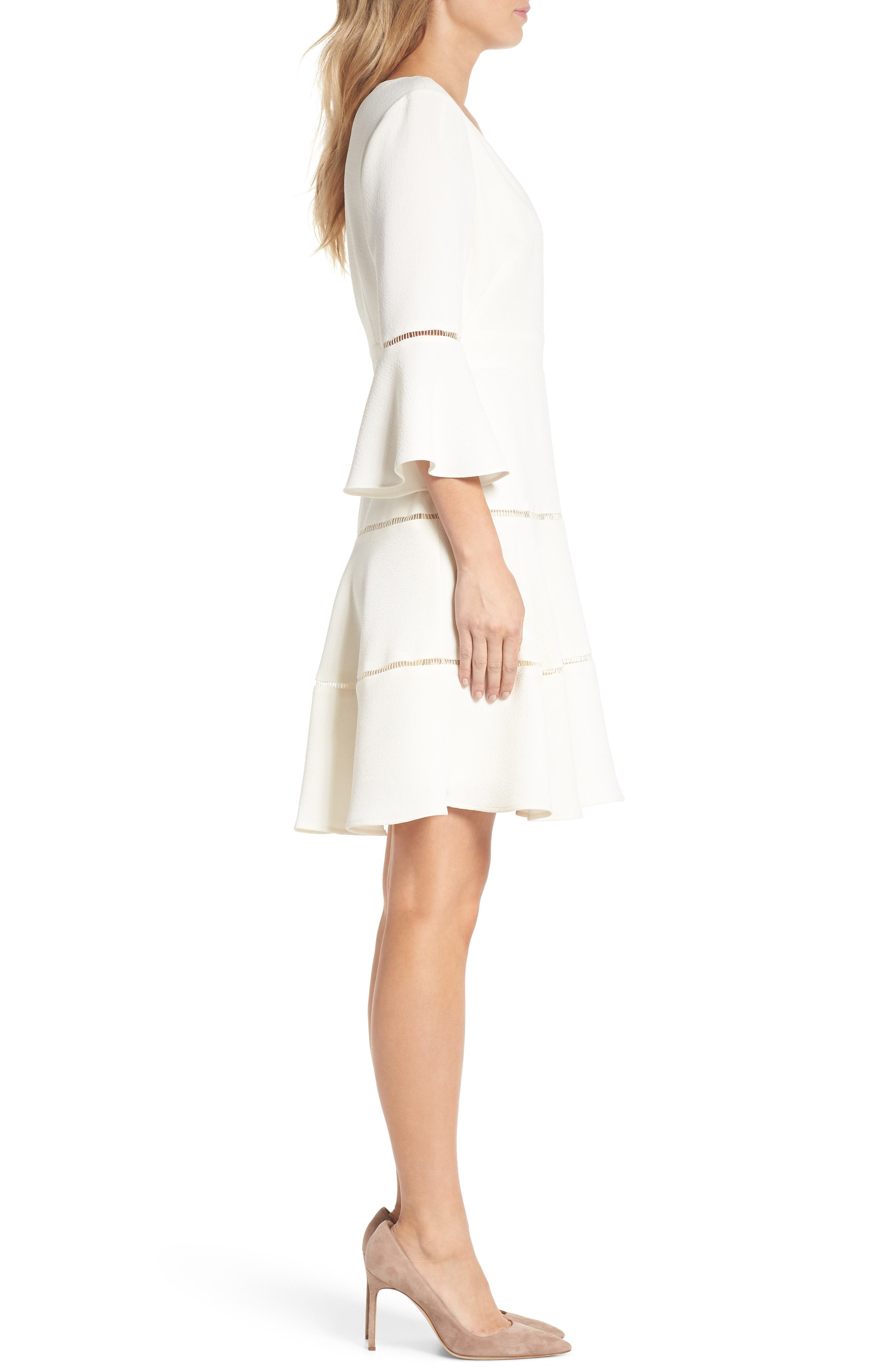 Bell Sleeve Lace Inset Fit & Flare Dress,                             Alternate thumbnail 3, color,                             IVORY