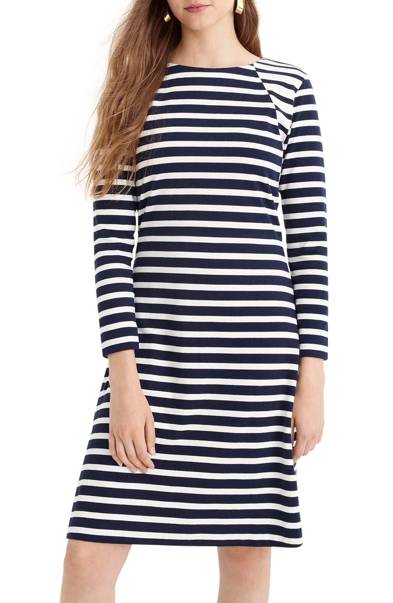 365 Stripe Knit Fit & Flare Dress,                             Main thumbnail 1, color,                             400
