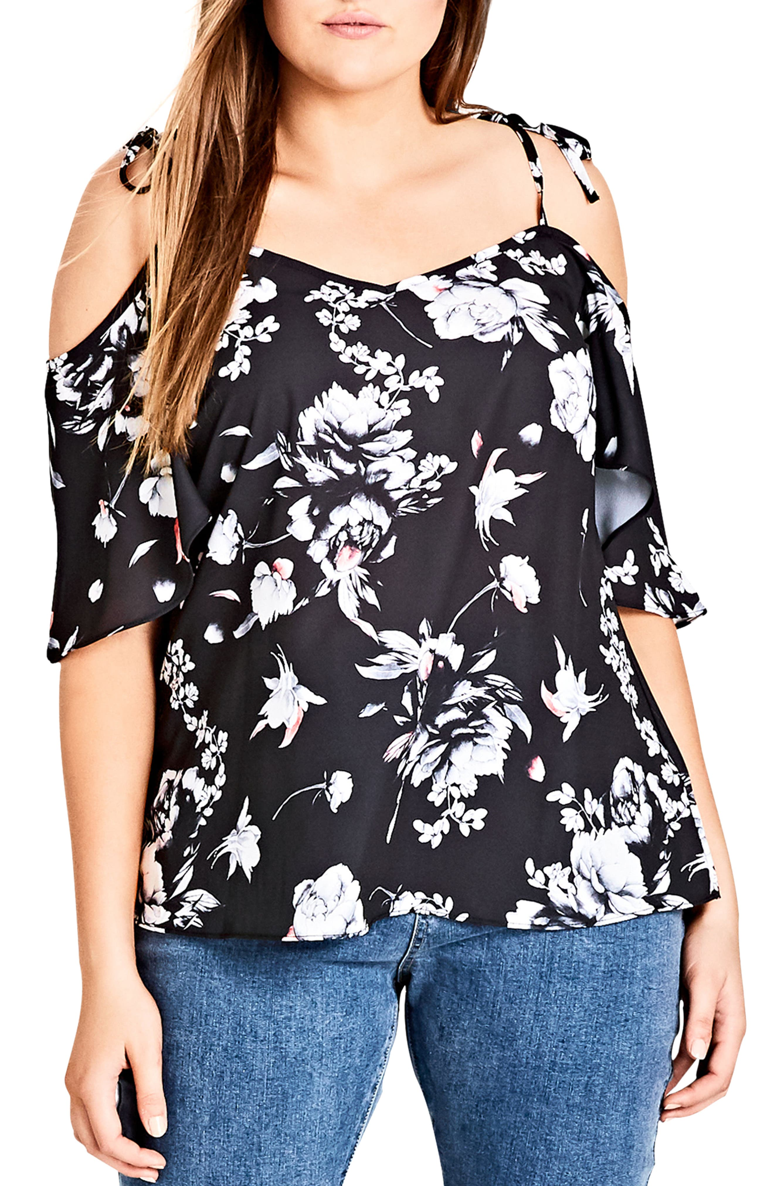 CITY CHIC,                             Flower Time Cold Shoulder Top,                             Alternate thumbnail 3, color,                             FLOWER TIME