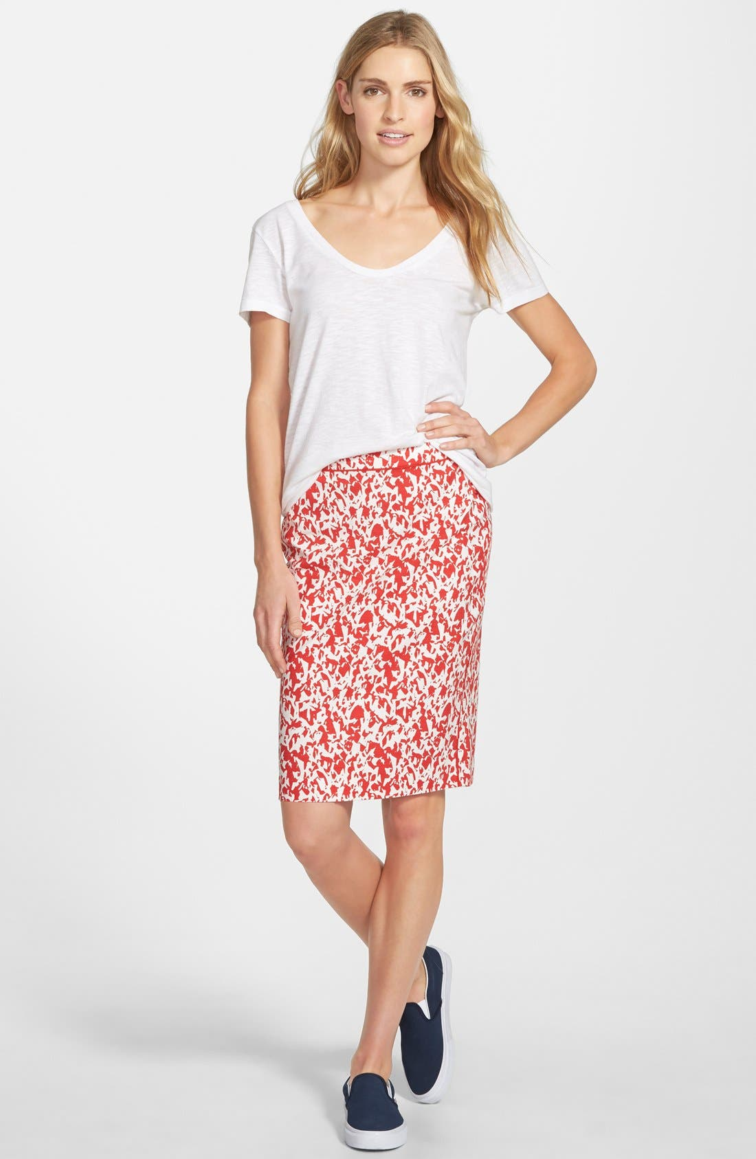 Piped Print Pencil Skirt,                             Alternate thumbnail 2, color,                             610