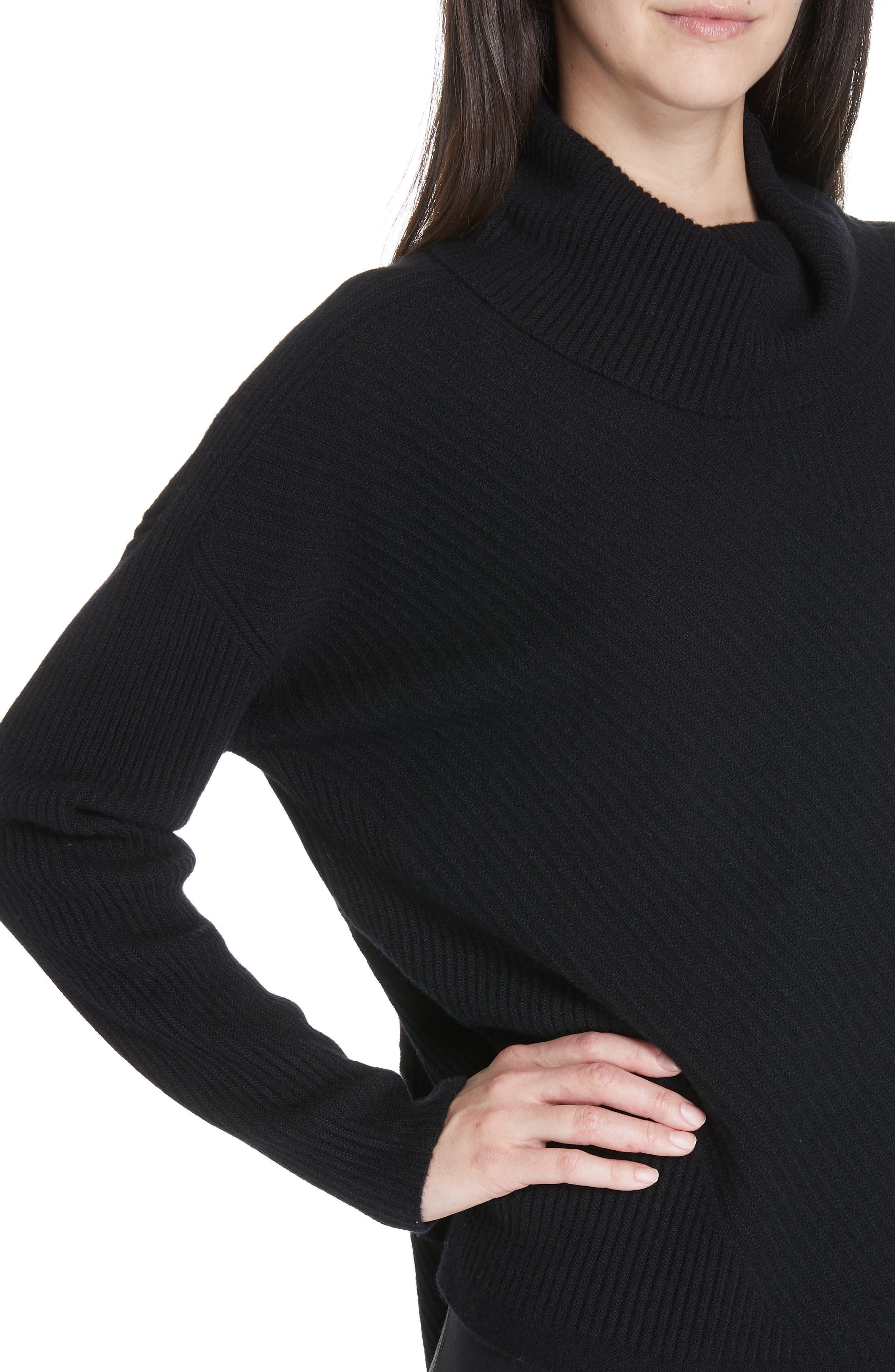 Cashmere Turtleneck Top,                             Alternate thumbnail 4, color,                             BLACK