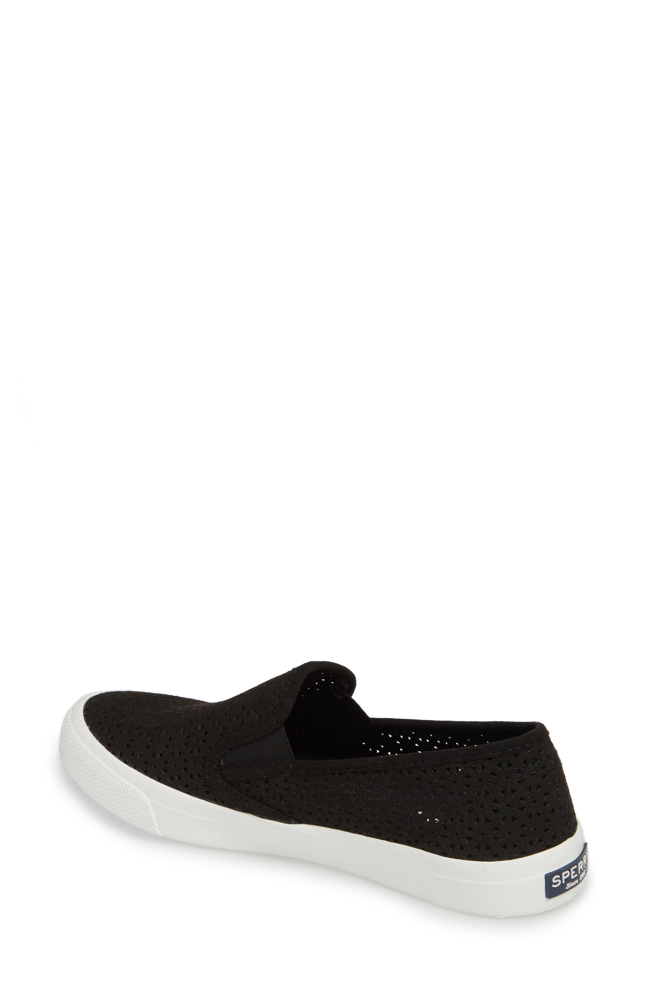 Seaside Nautical Perforated Slip-On Sneaker,                             Alternate thumbnail 2, color,                             BLACK LEATHER