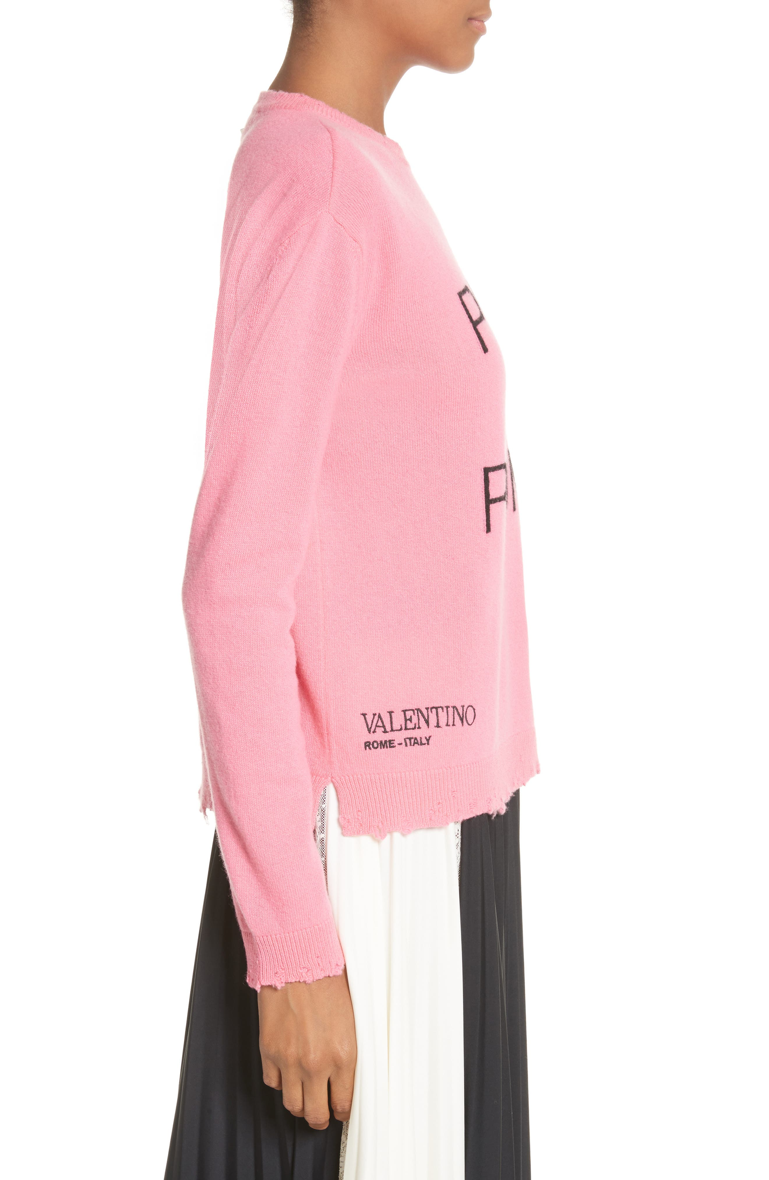 Pink Is Punk Wool & Cashmere Sweater,                             Alternate thumbnail 3, color,                             664