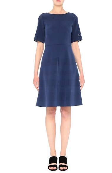Tamera Perforated Fit & Flare Dress, video thumbnail