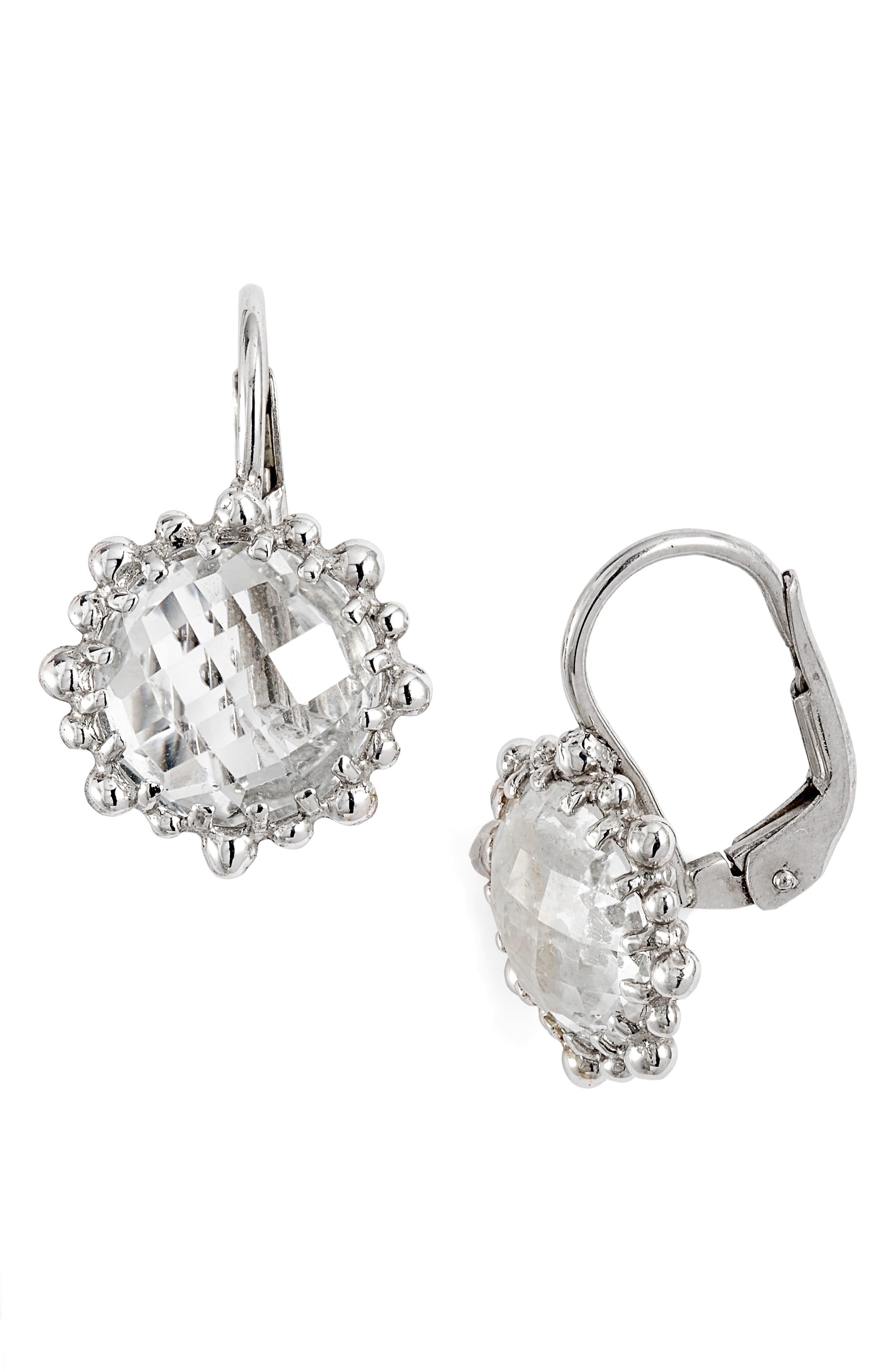ANZIE,                             Dew Drop Snowflake White Topaz Drop Earrings,                             Main thumbnail 1, color,                             SILVER