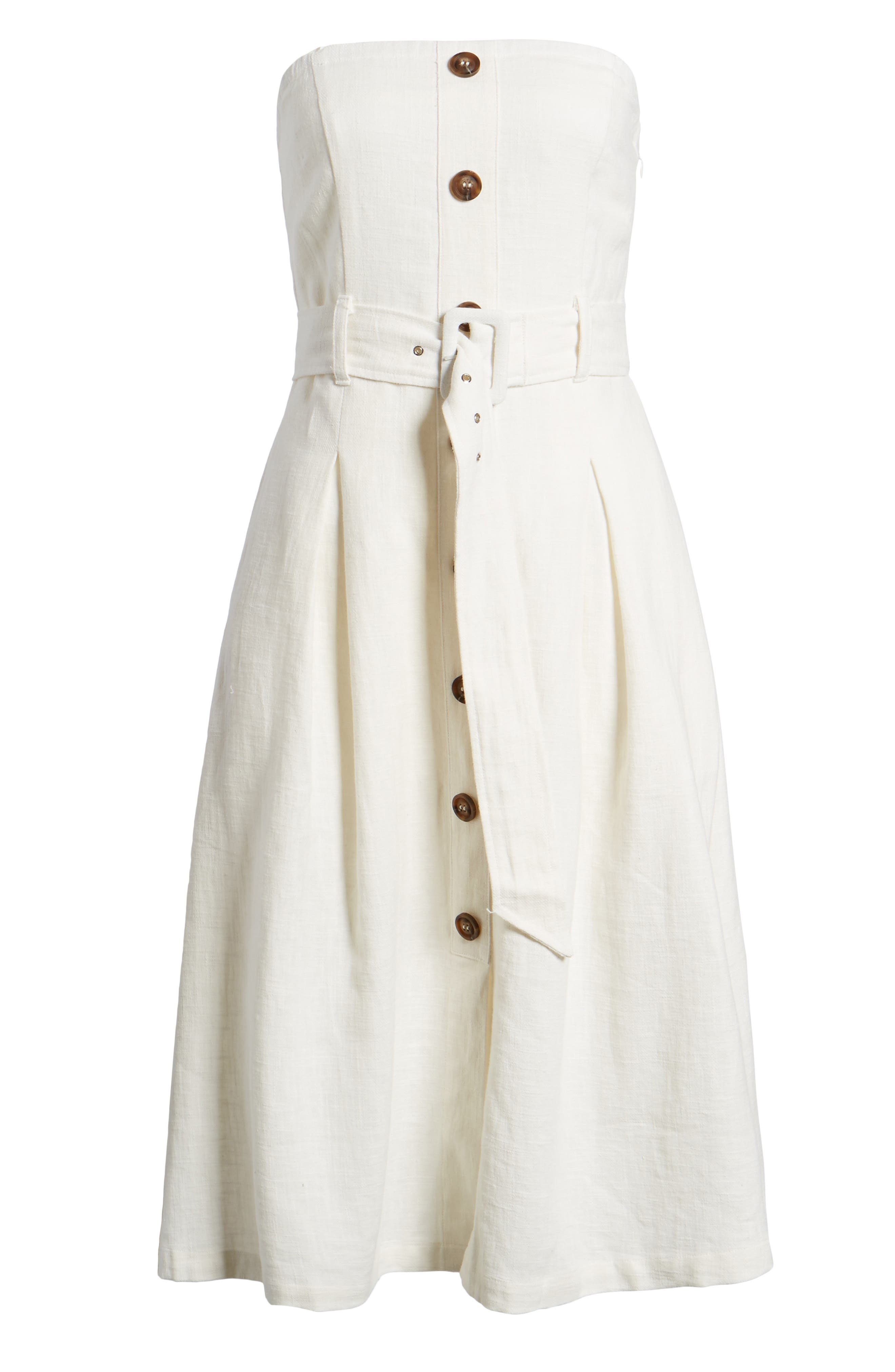 Linen & Cotton Strapless Dress,                             Alternate thumbnail 6, color,