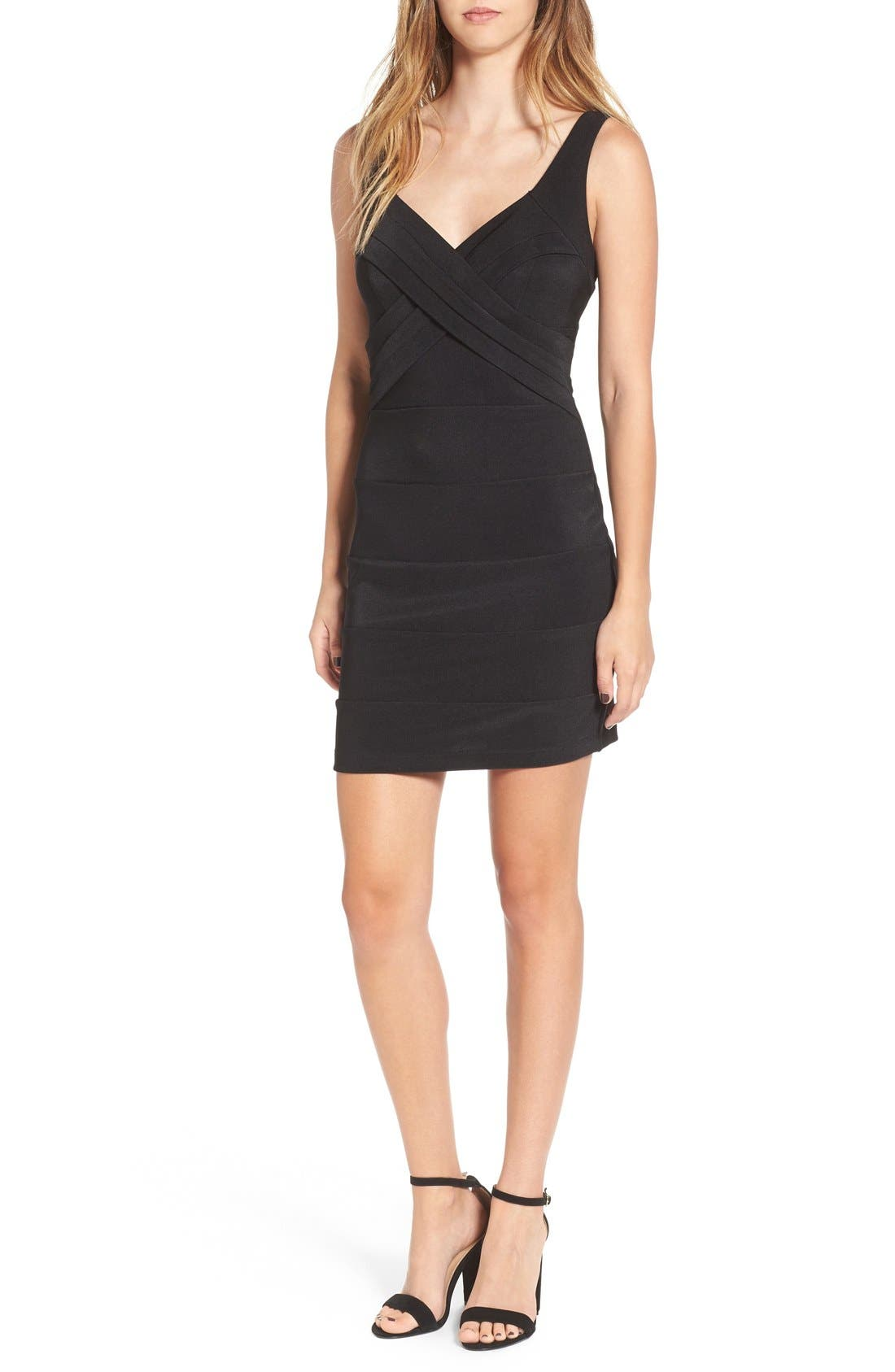 LOVE, NICKIE LEW Cross Front Body-Con Dress, Main, color, 001